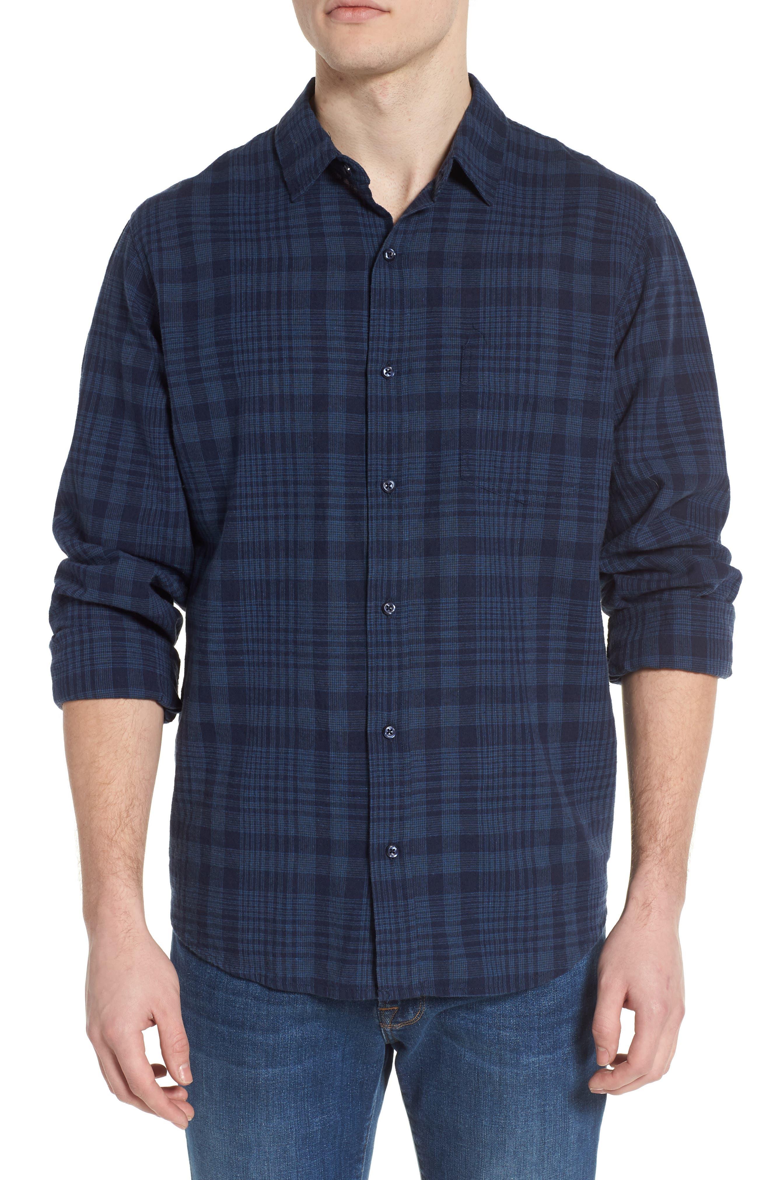 Connor Plaid Linen Blend Sport Shirt,                         Main,                         color, Indigo Plaid