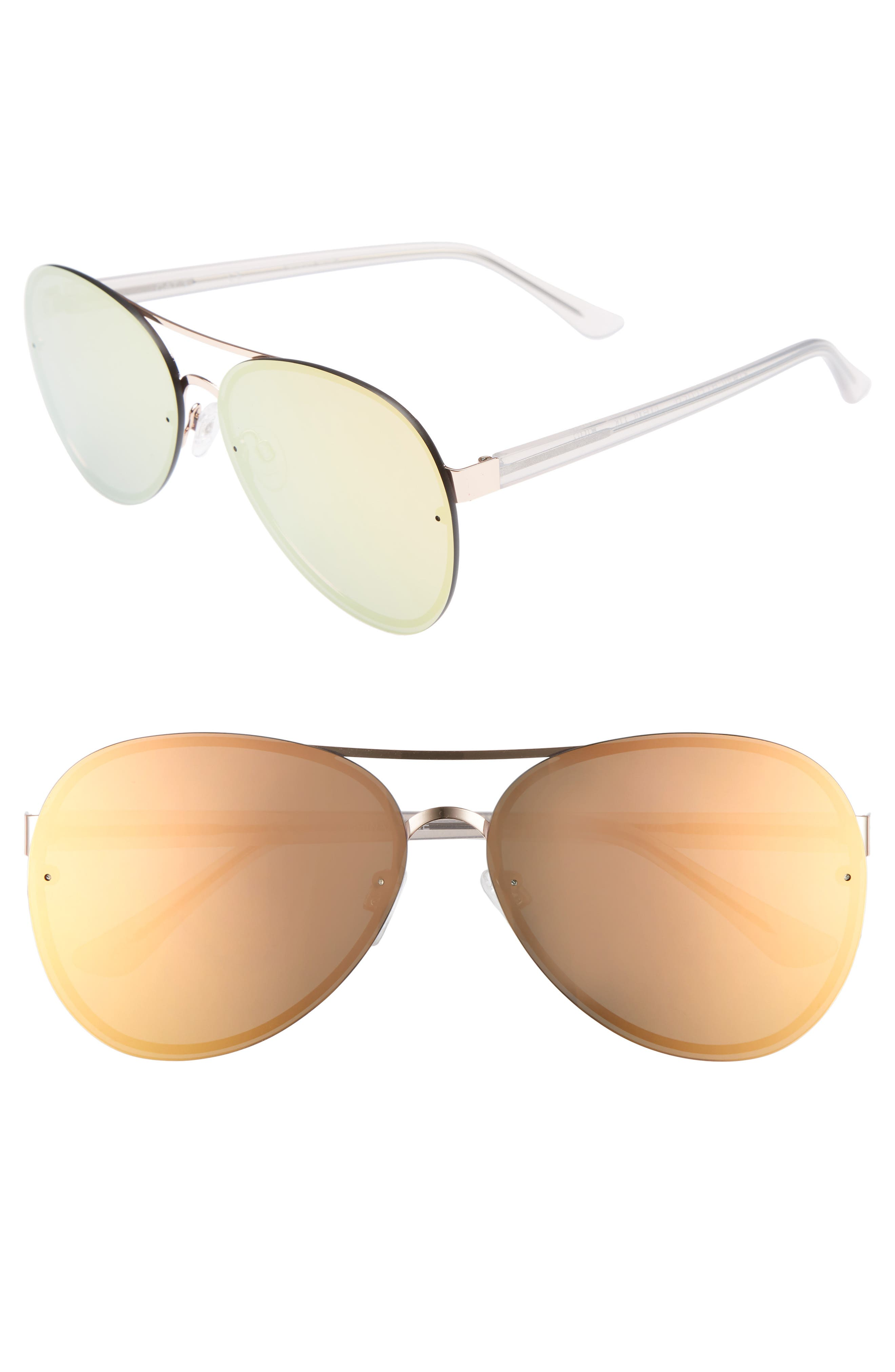 Straight Flush 64mm Aviator Sunglasses,                             Main thumbnail 1, color,                             Pink Mirror