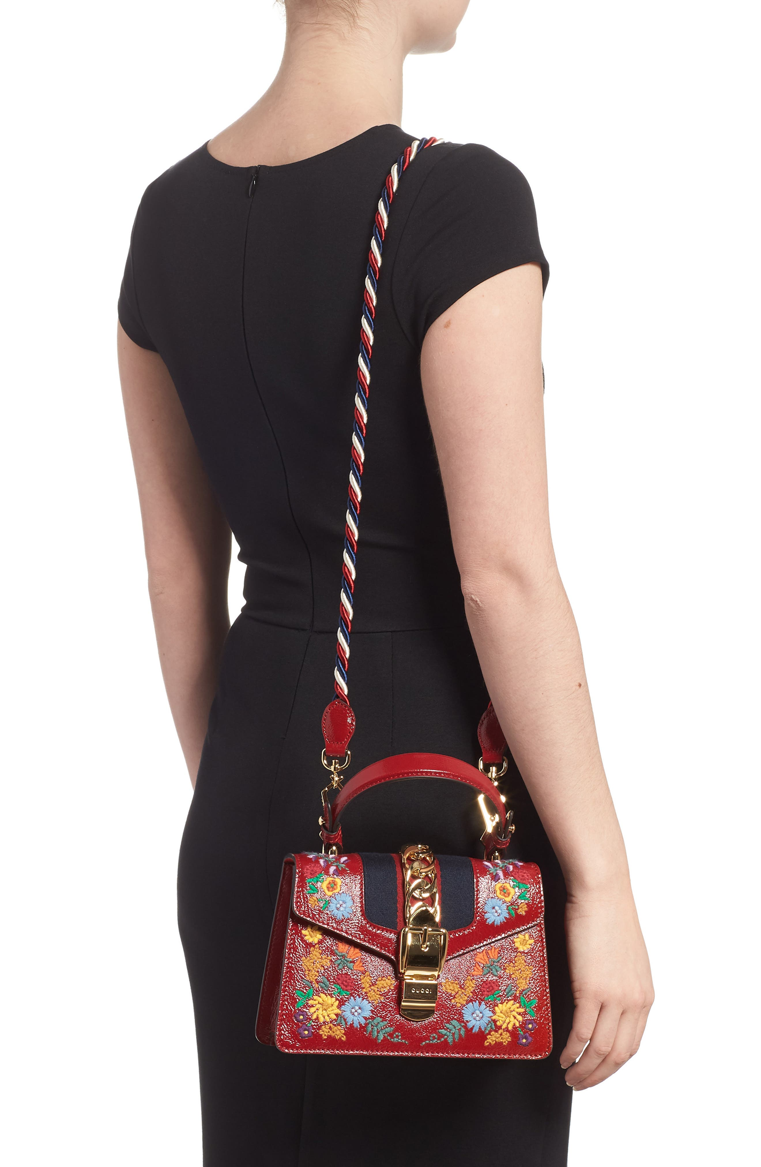 Mini Sylvie Flower Embroidery Leather Shoulder Bag,                             Alternate thumbnail 2, color,                             Hibiscus Red Multi/ Blue