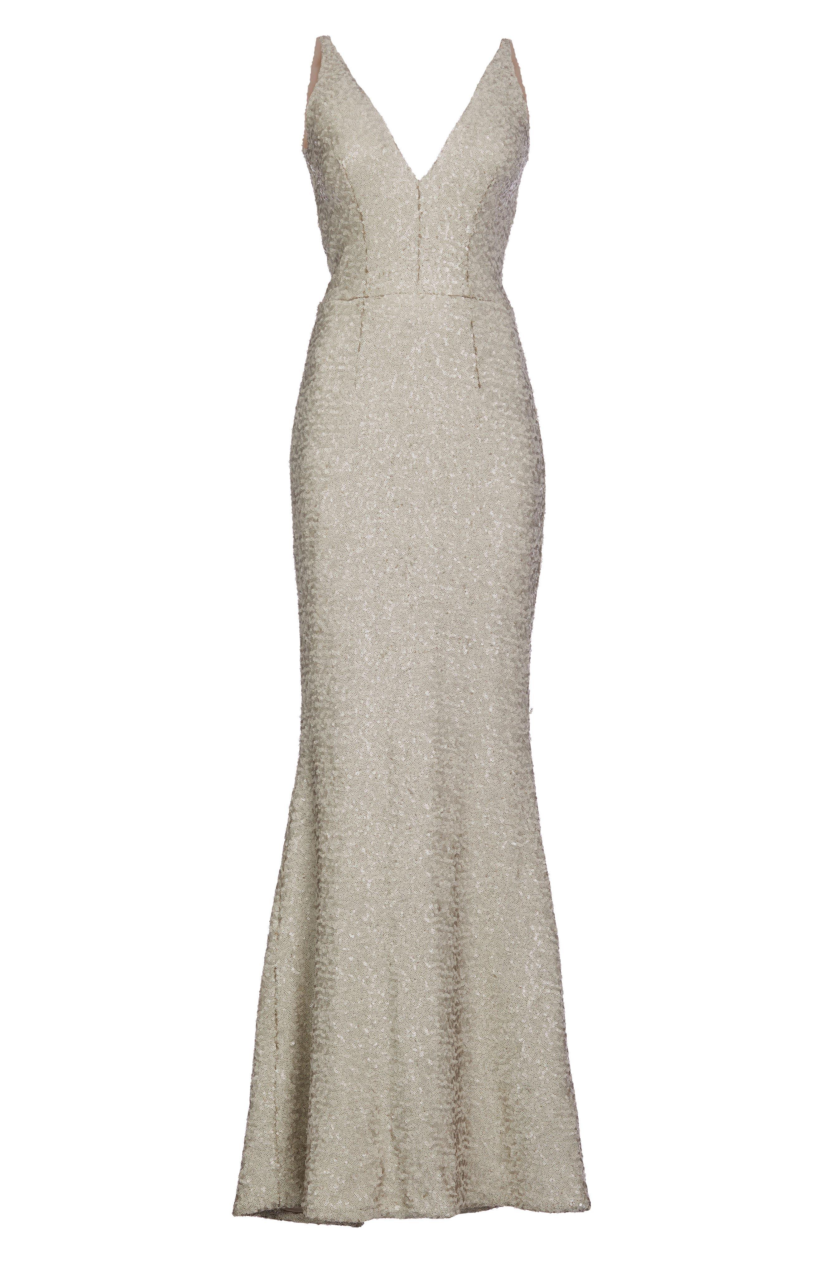 Harper Mermaid Gown,                             Alternate thumbnail 4, color,                             Bone
