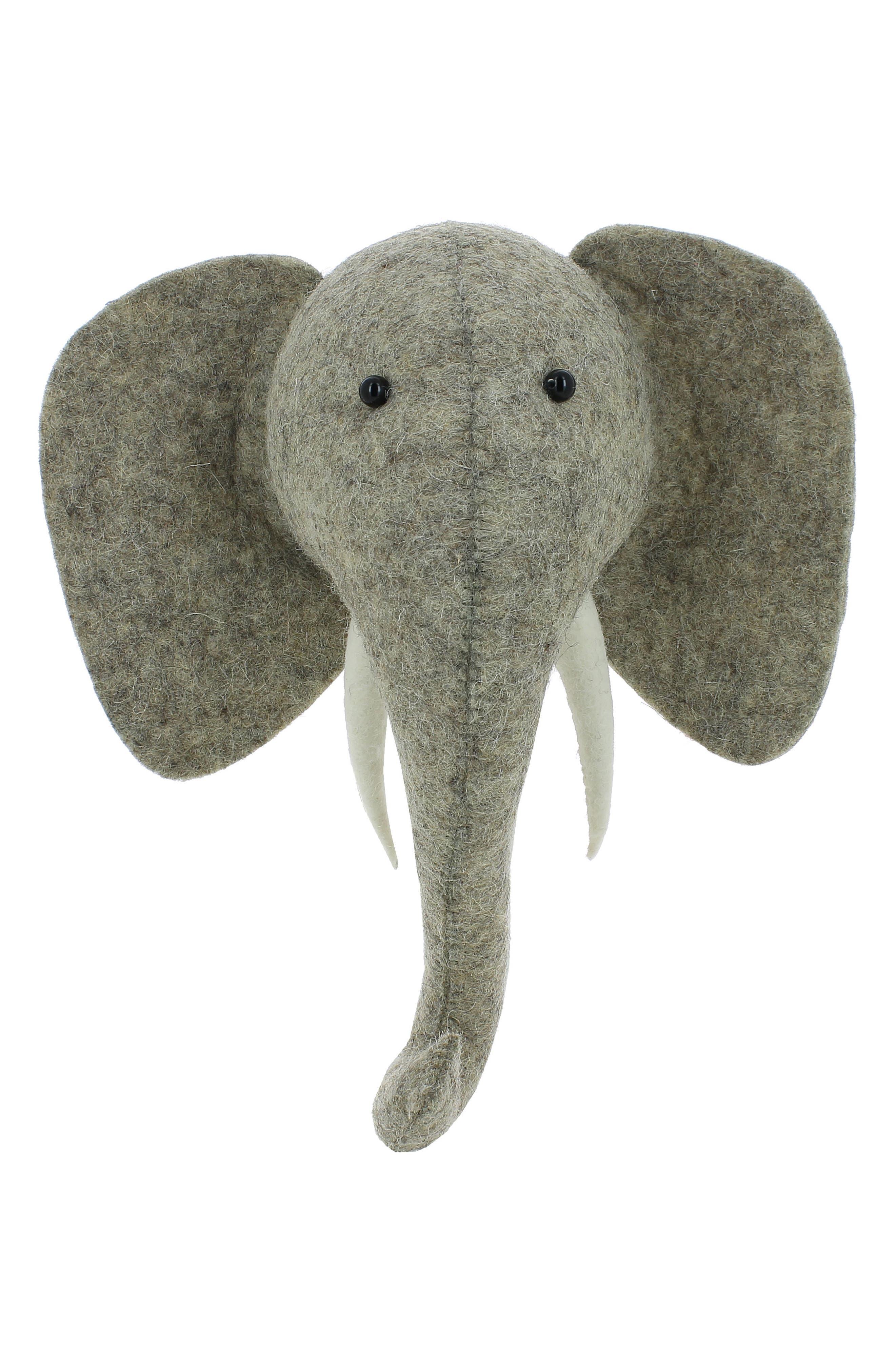 Mini Elephant Head Wall Art,                             Main thumbnail 1, color,                             Grey