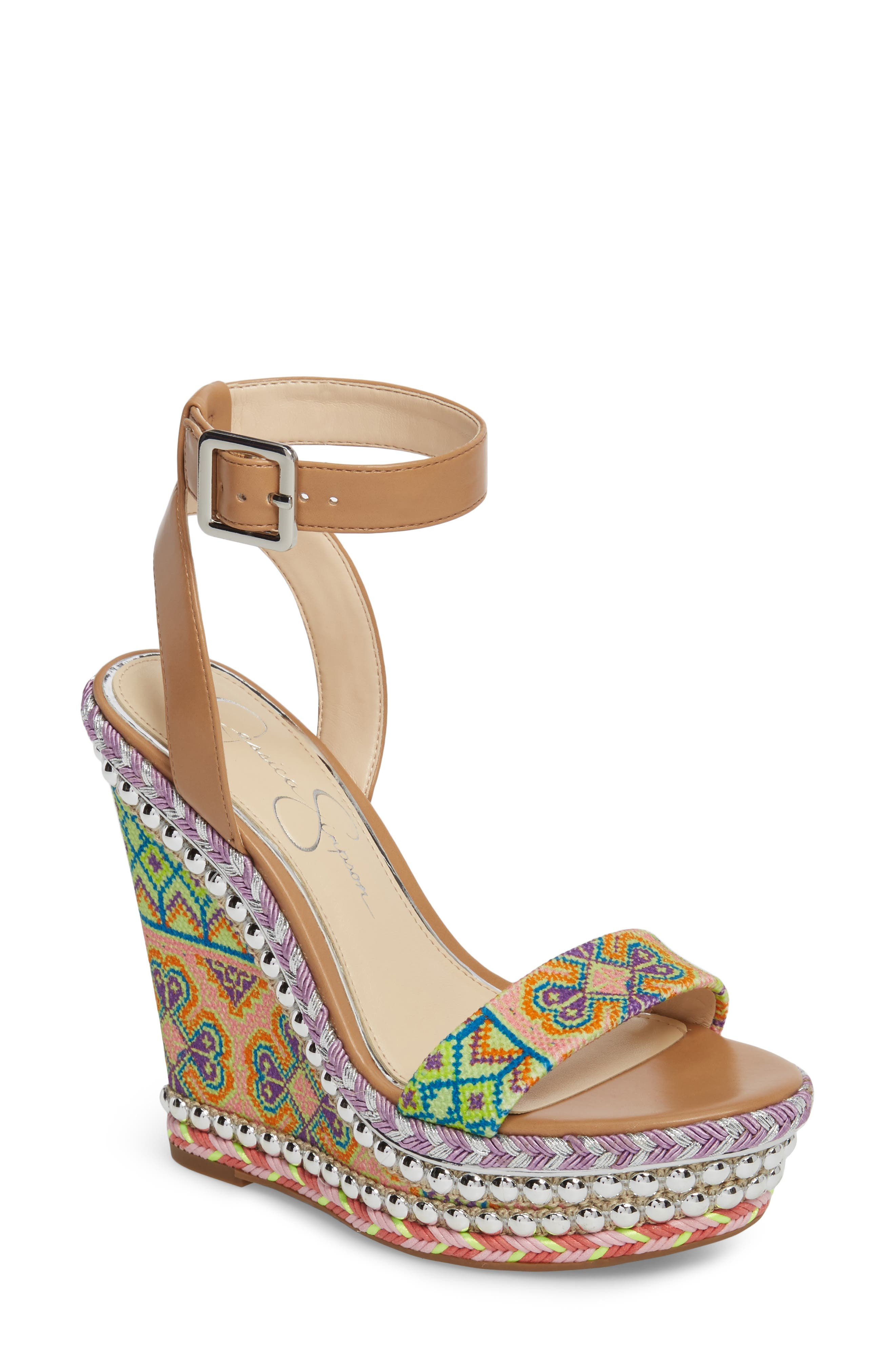 Jessica Simpson Alinda Embellished Wedge Sandal (Women)