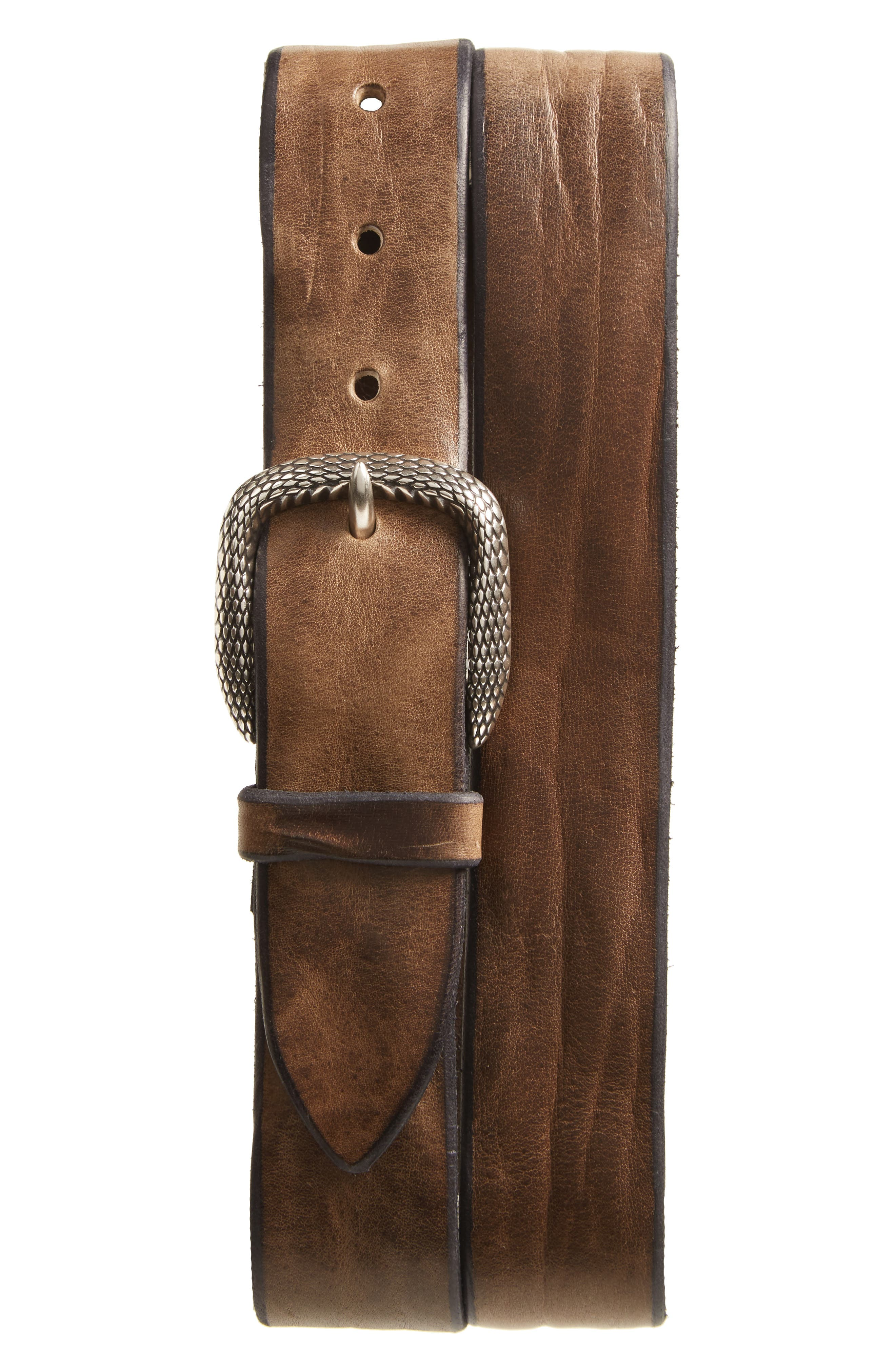 Wax Leather Belt,                             Main thumbnail 1, color,                             Antracite