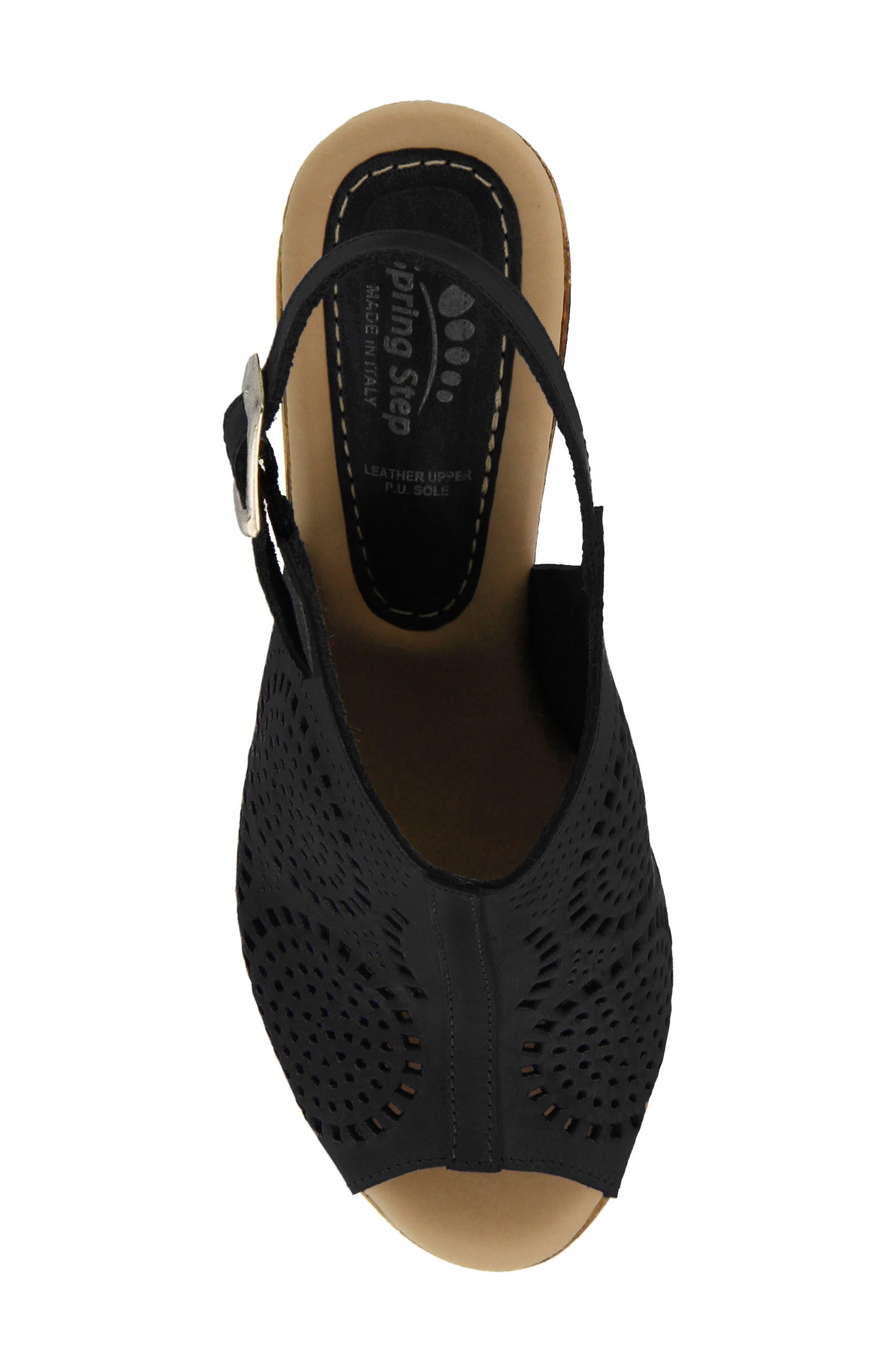 Liberty Platform Sandal,                             Alternate thumbnail 4, color,                             Black Leather