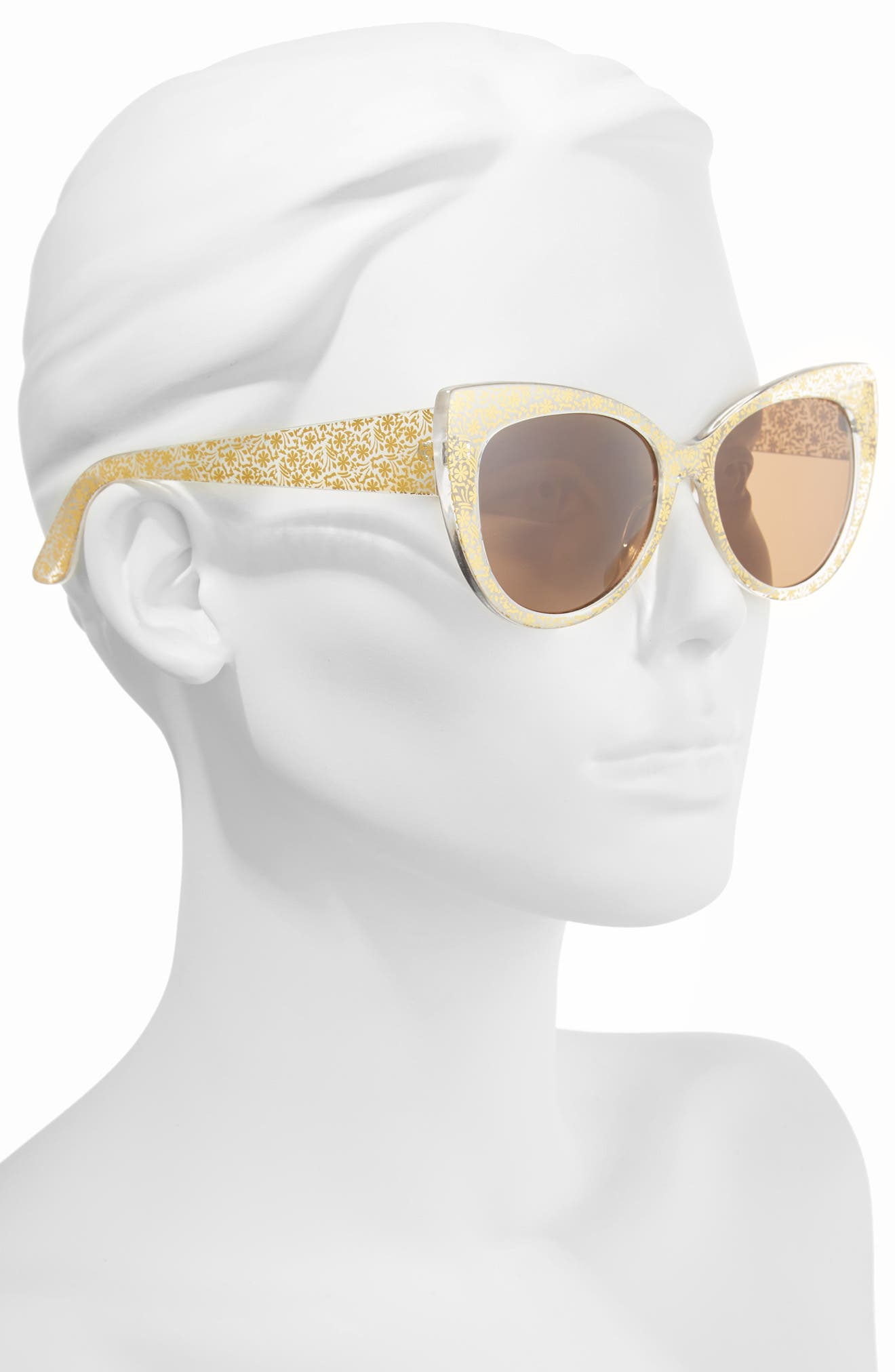 55mm Floral Cat Eye Sunglasses,                             Alternate thumbnail 2, color,                             Gold/ Gold