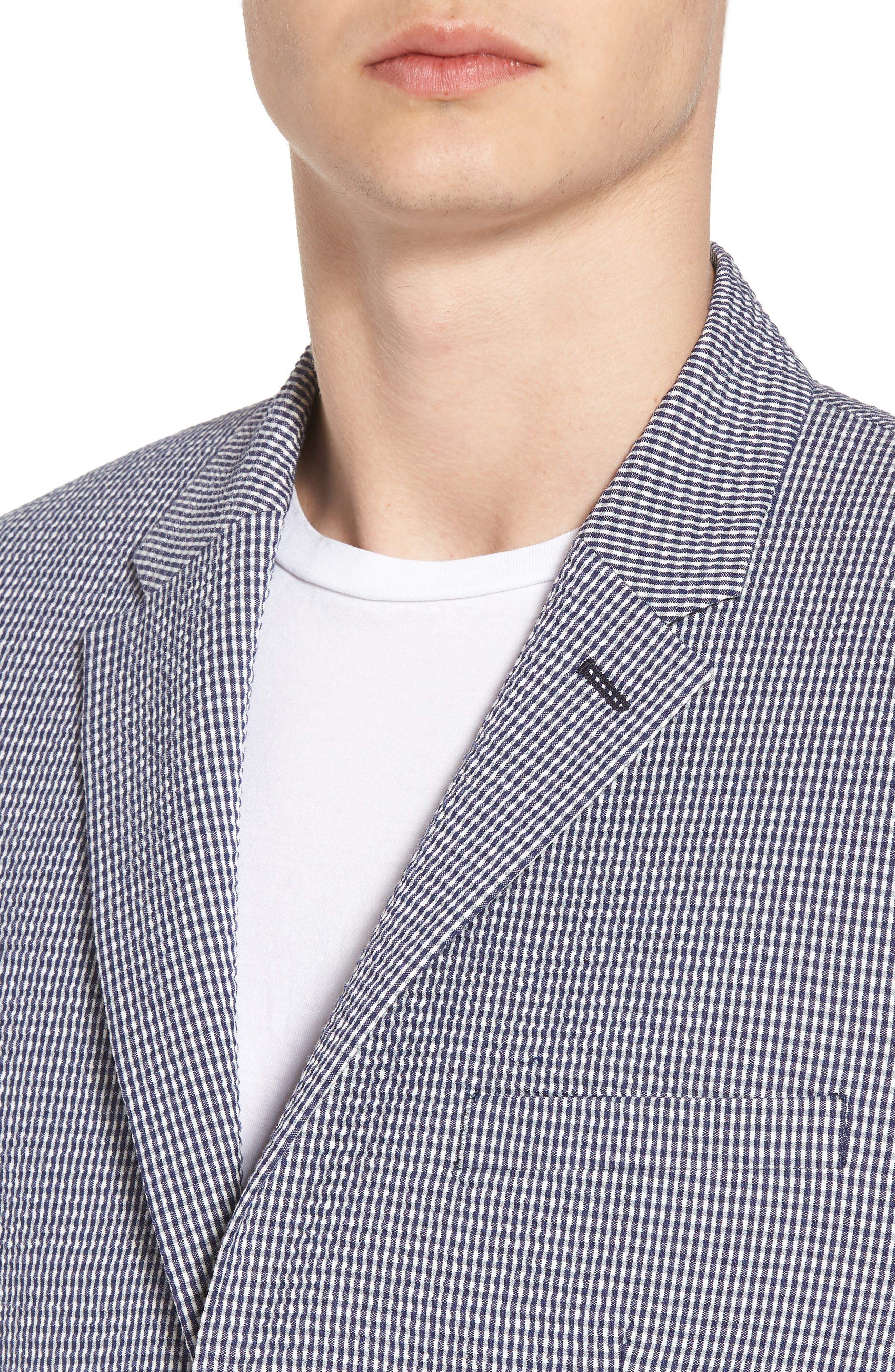 Slim Fit Stretch Seersucker Sport Coat,                             Alternate thumbnail 4, color,                             Marine Blue