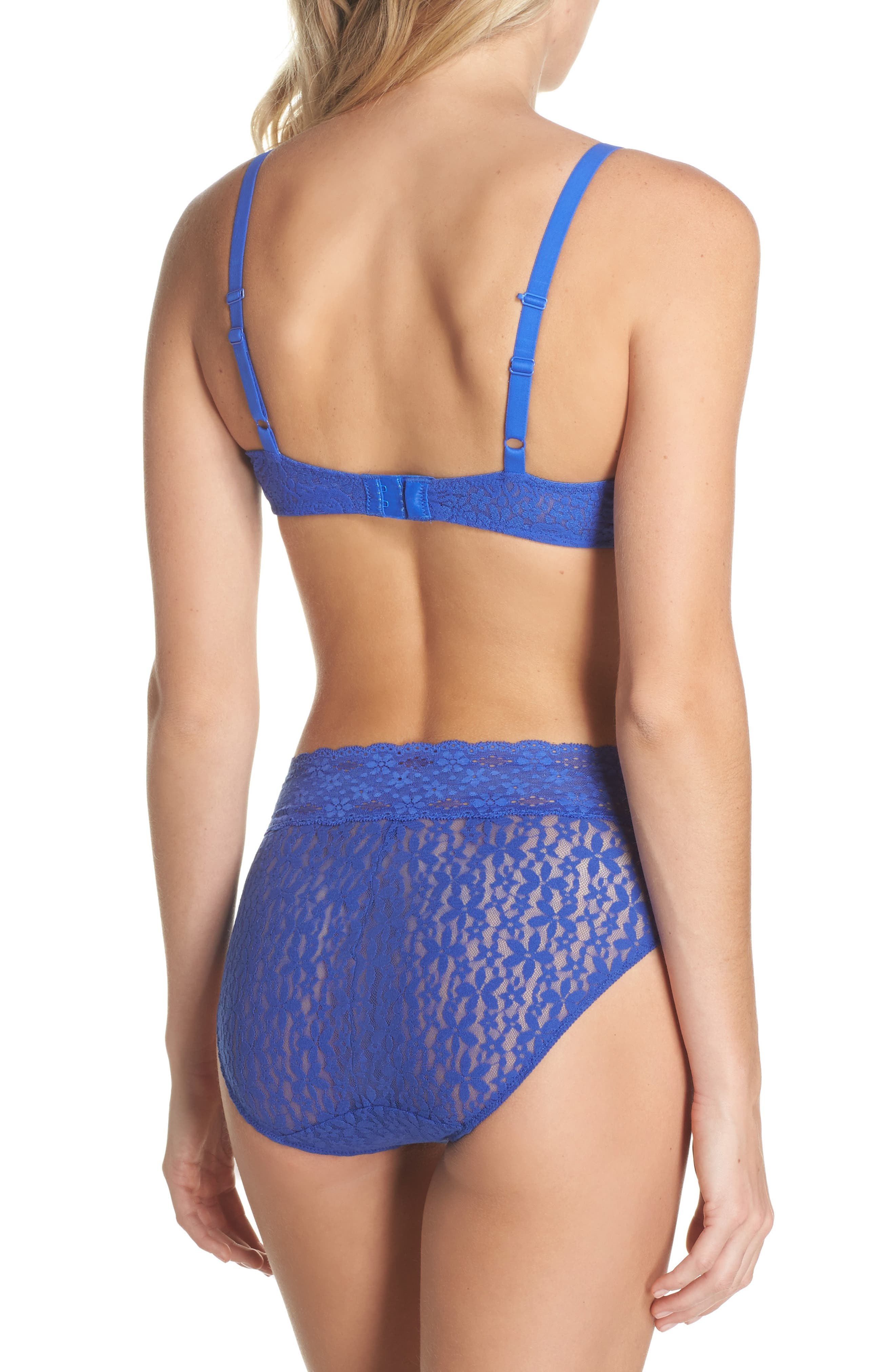 'Halo Lace' Convertible Underwire Bra,                             Alternate thumbnail 6, color,                             Dazzling Blue