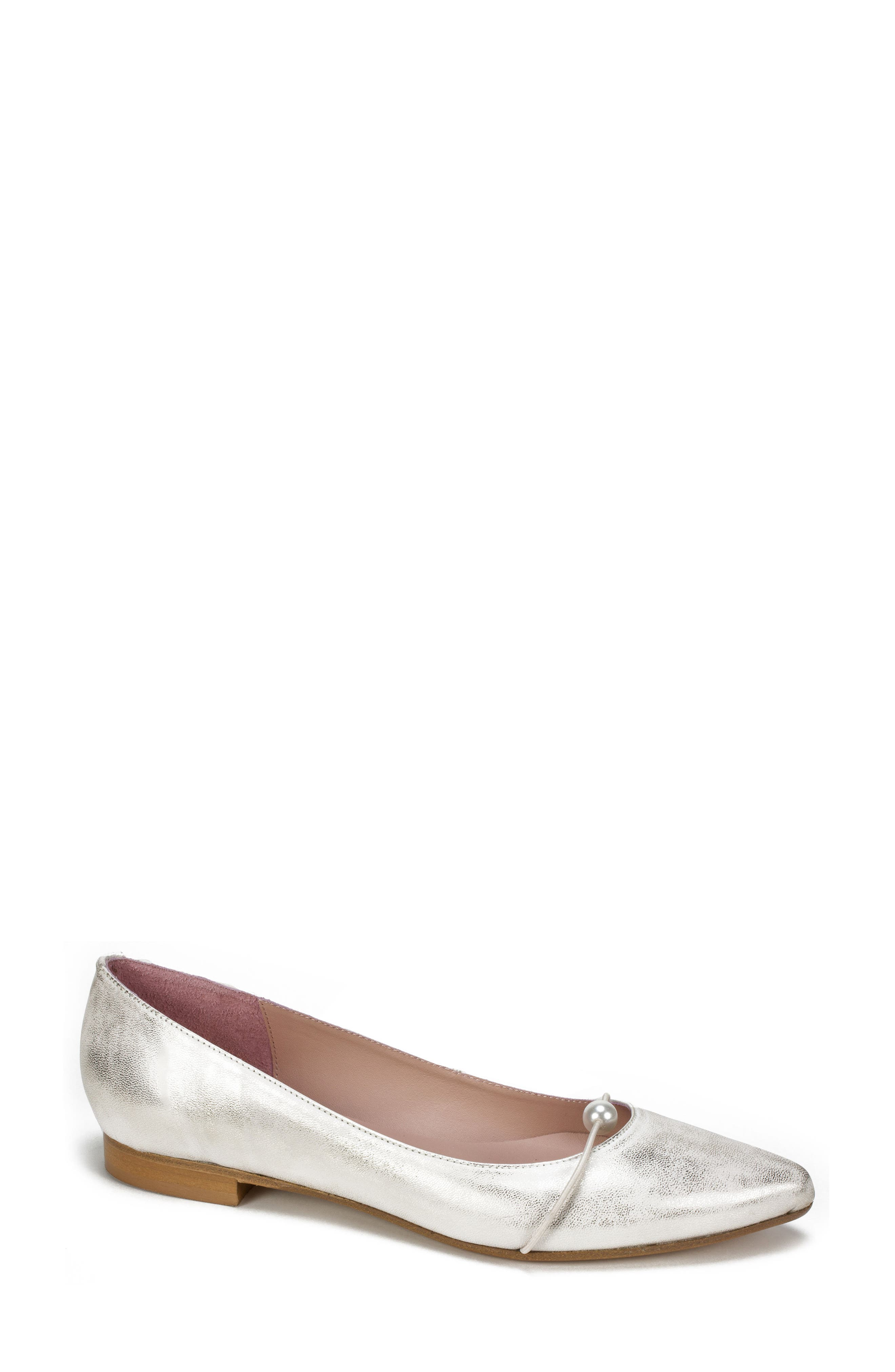 Kaelyn Flat,                         Main,                         color, Platinum Leather