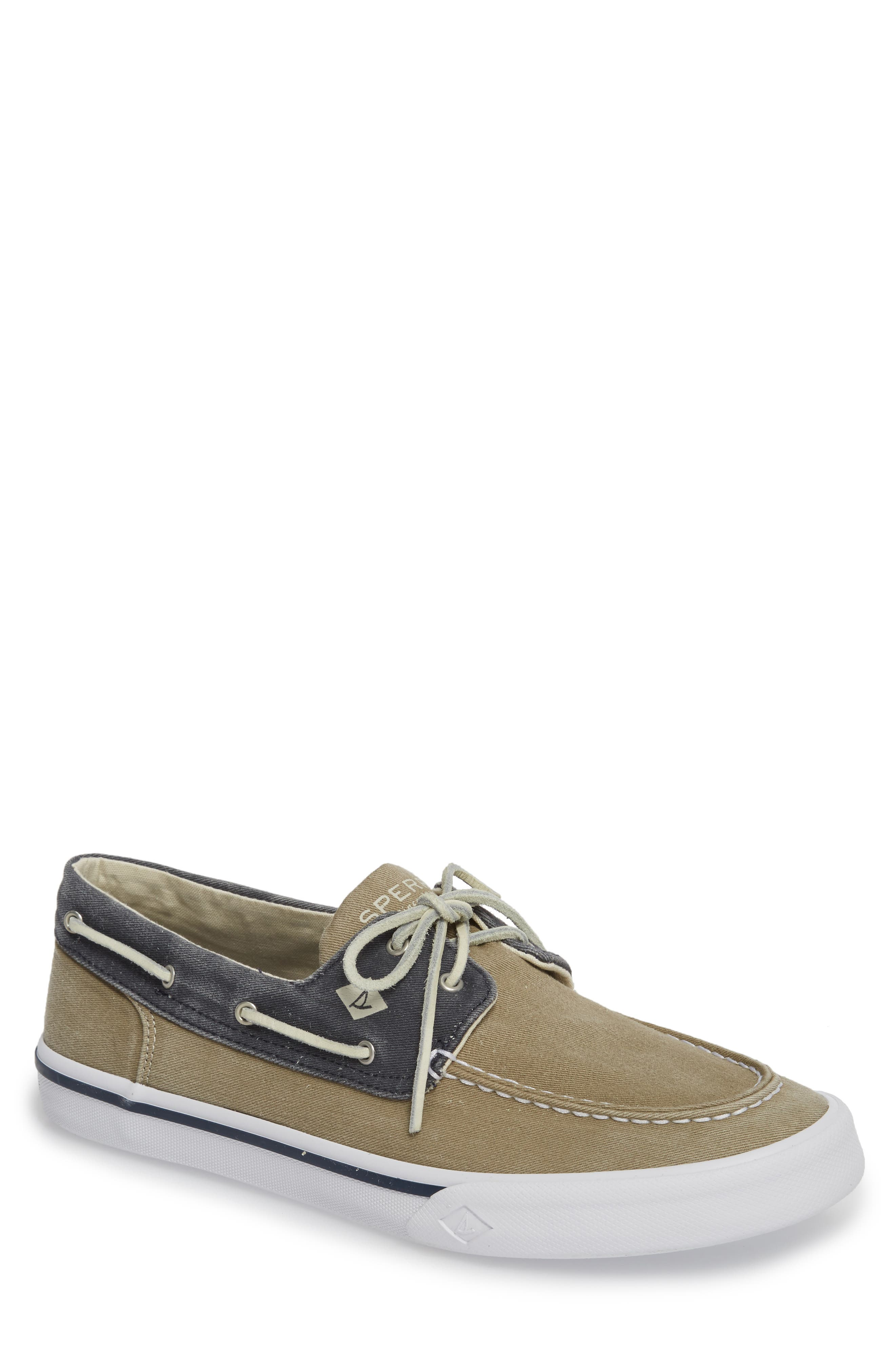 Striper II Boat Shoe,                         Main,                         color, Taupe/ Navy