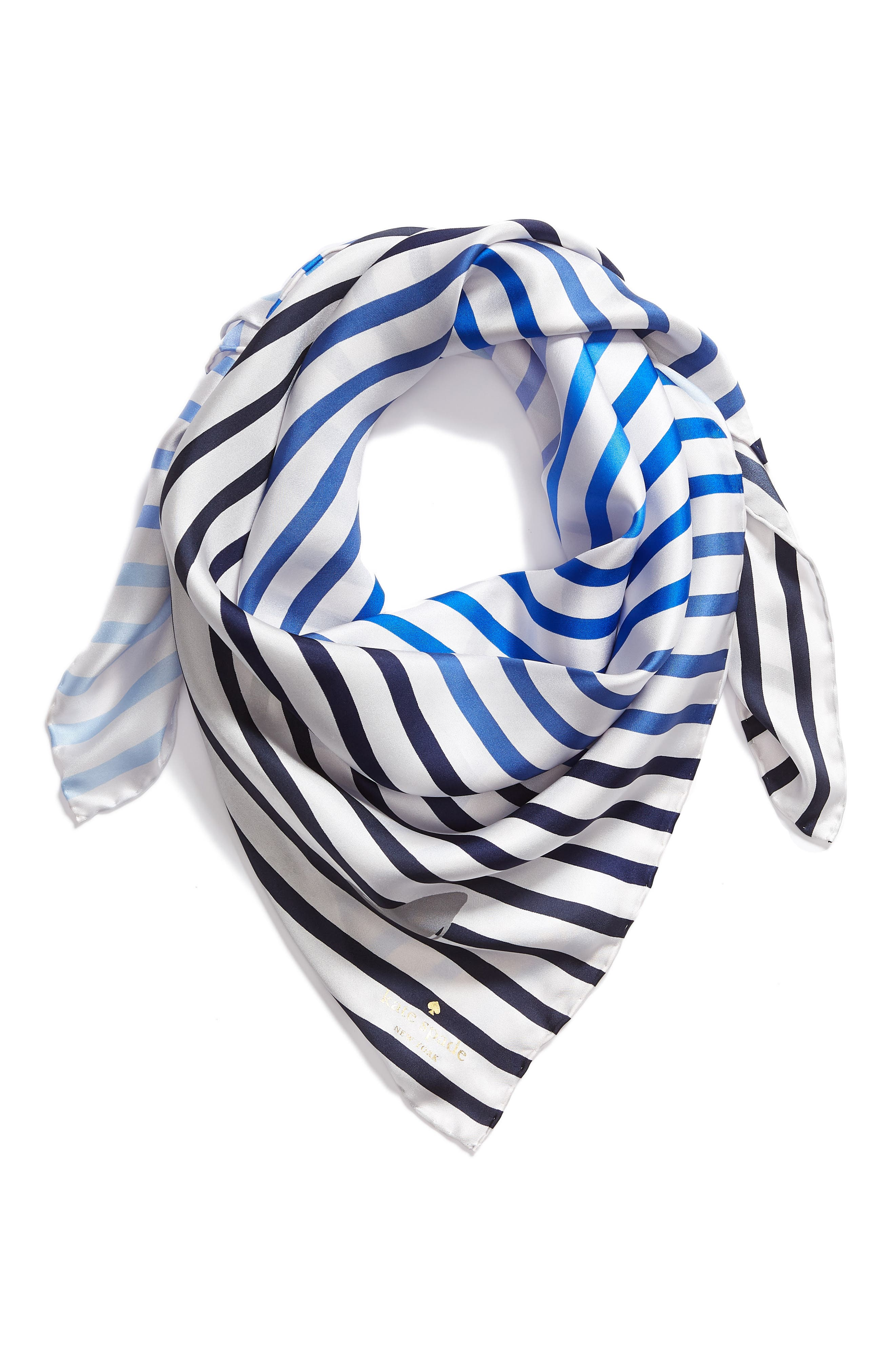shark square silk scarf,                             Alternate thumbnail 2, color,                             Navy