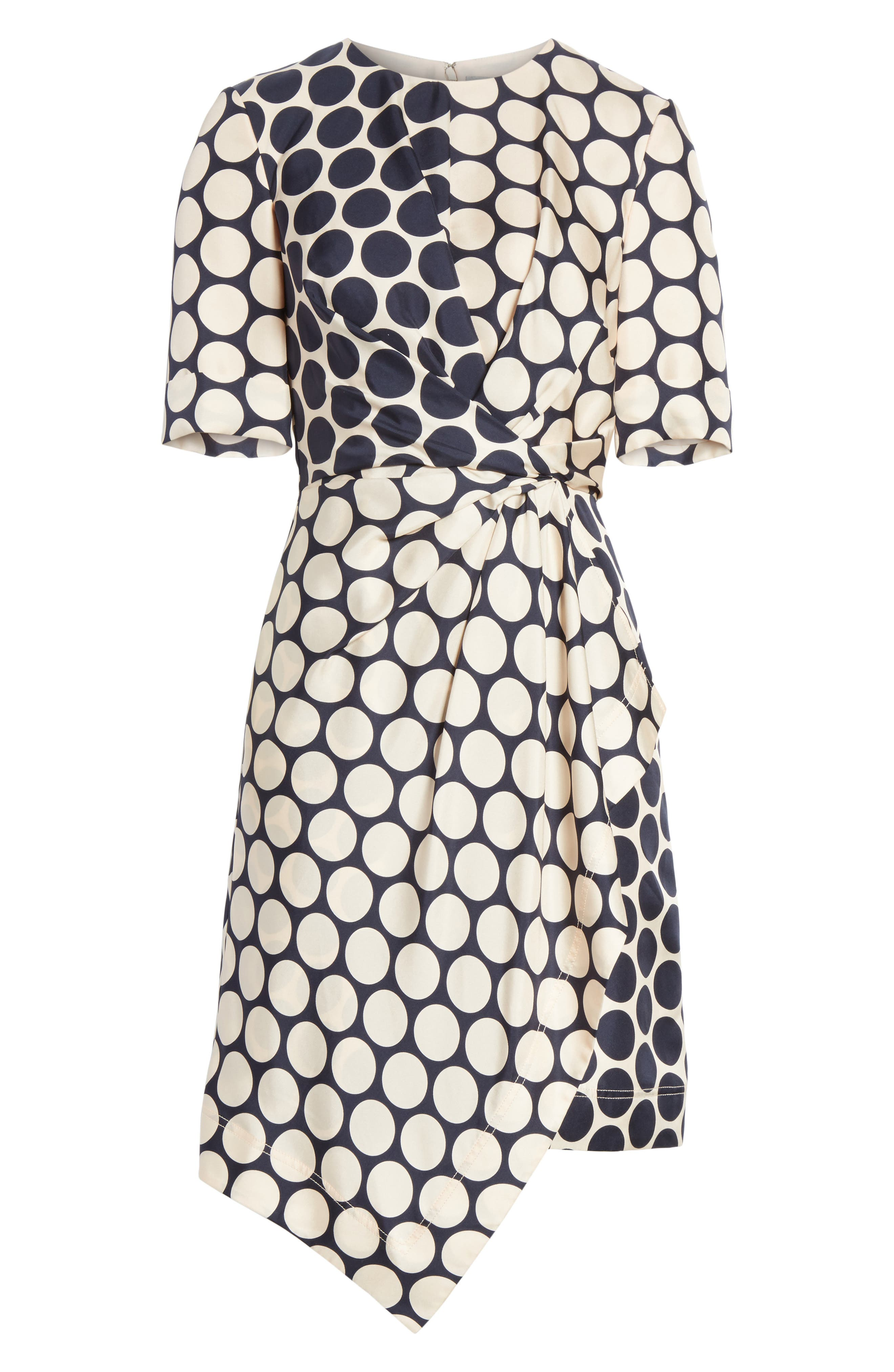 Polka Dot Silk Dress,                             Alternate thumbnail 6, color,                             Shell Combo