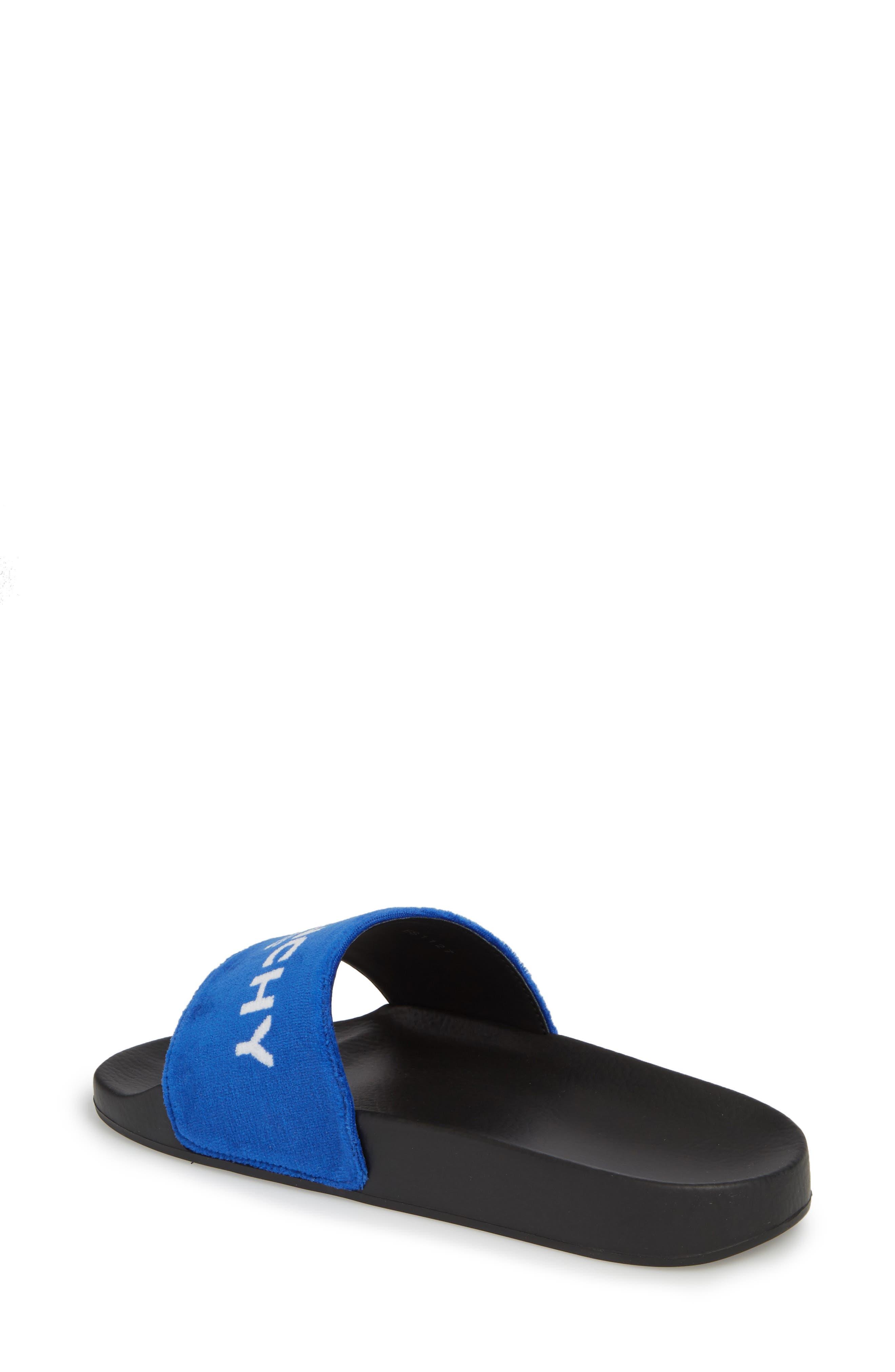 Logo Slide Sandal,                             Alternate thumbnail 2, color,                             Electric Blue