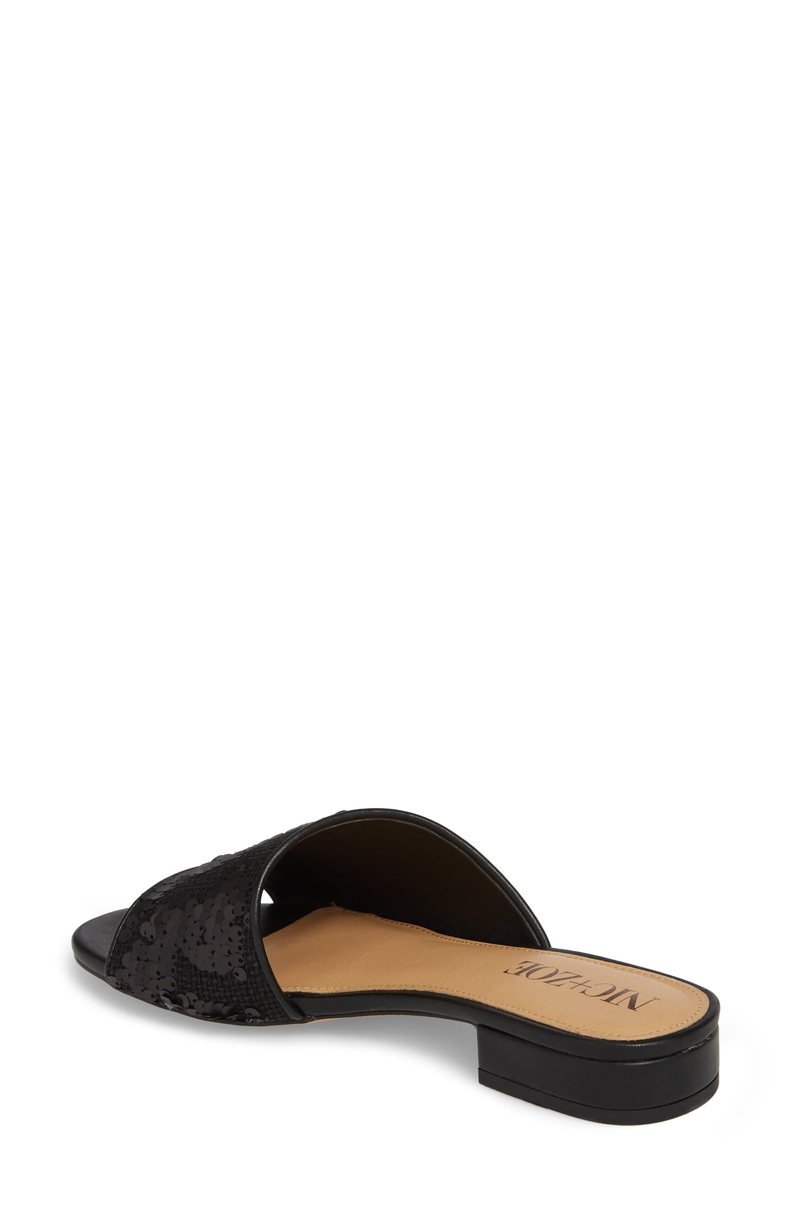 Stella Slide Sandal,                             Alternate thumbnail 2, color,                             Black Sequin Fabric