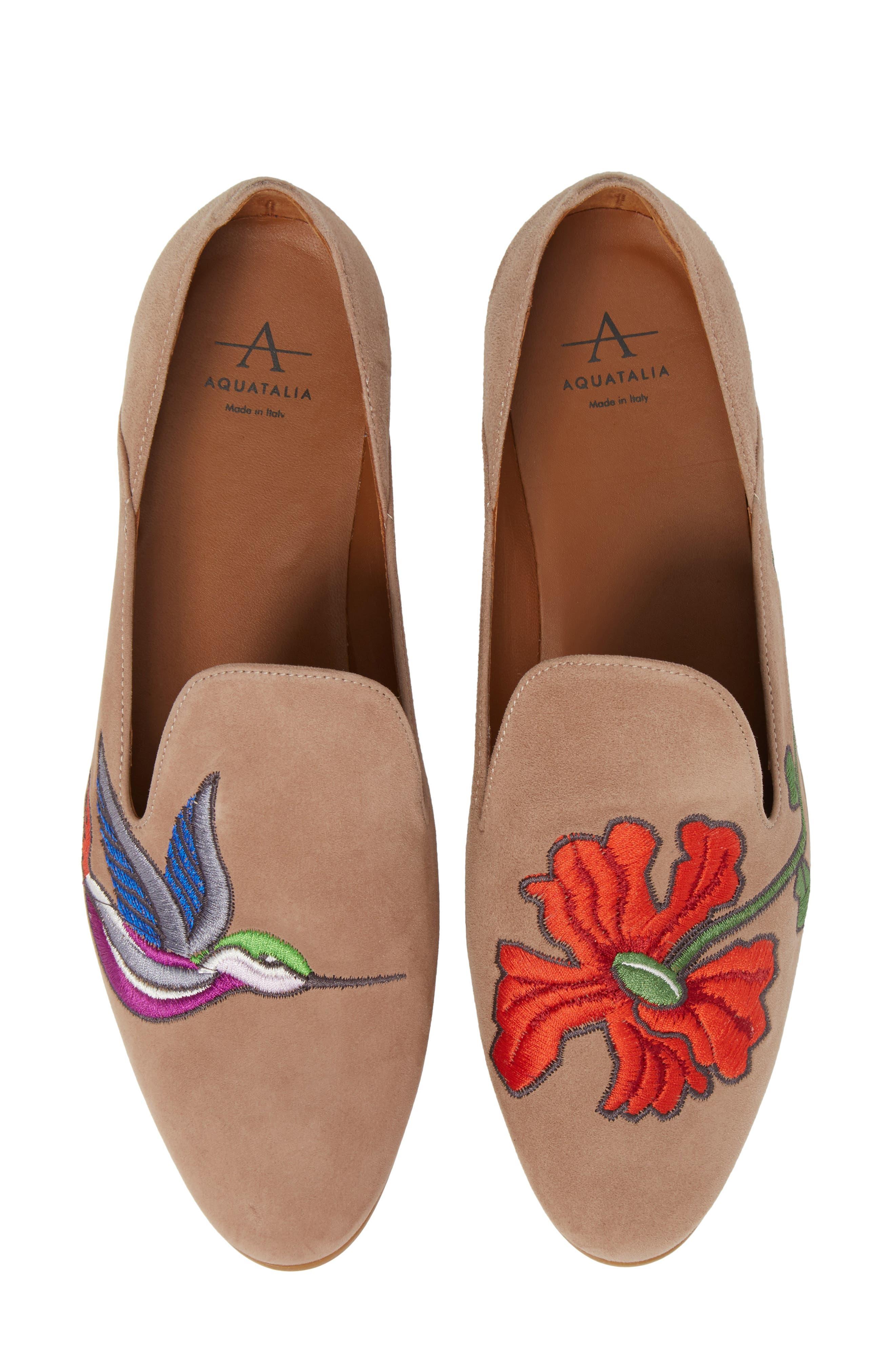 Emmaline Embroidered Loafer,                         Main,                         color, Nude