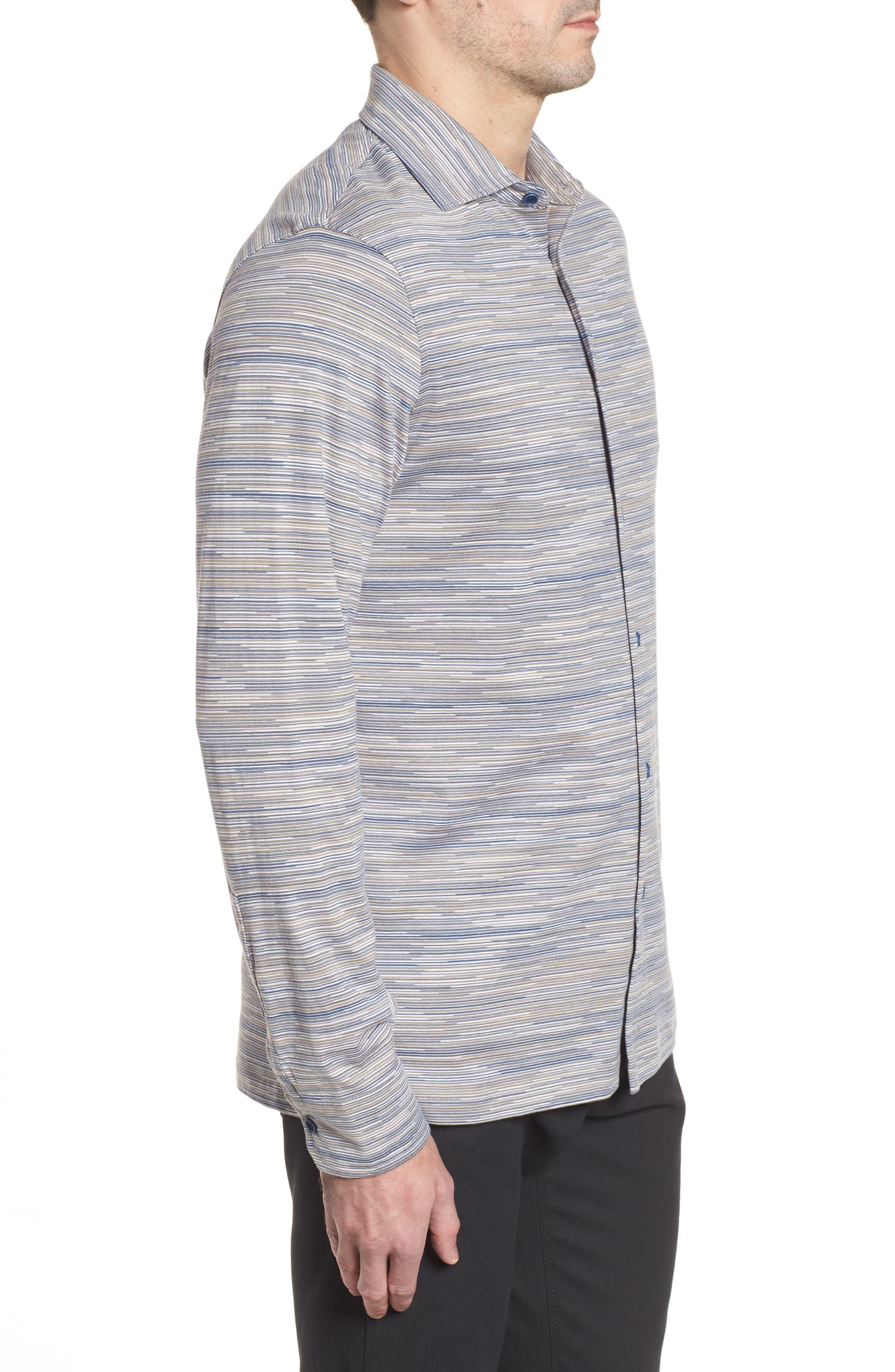 Regular Fit Striated Knit Sport Shirt,                             Alternate thumbnail 3, color,                             Sand