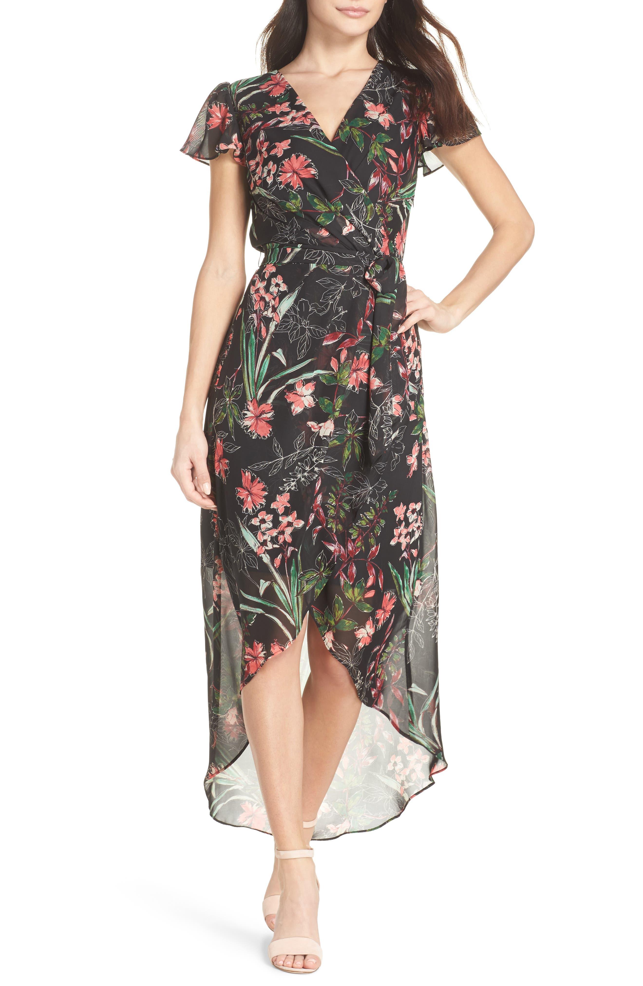 Chiffon Faux Wrap Dress,                             Main thumbnail 1, color,                             Black Multi