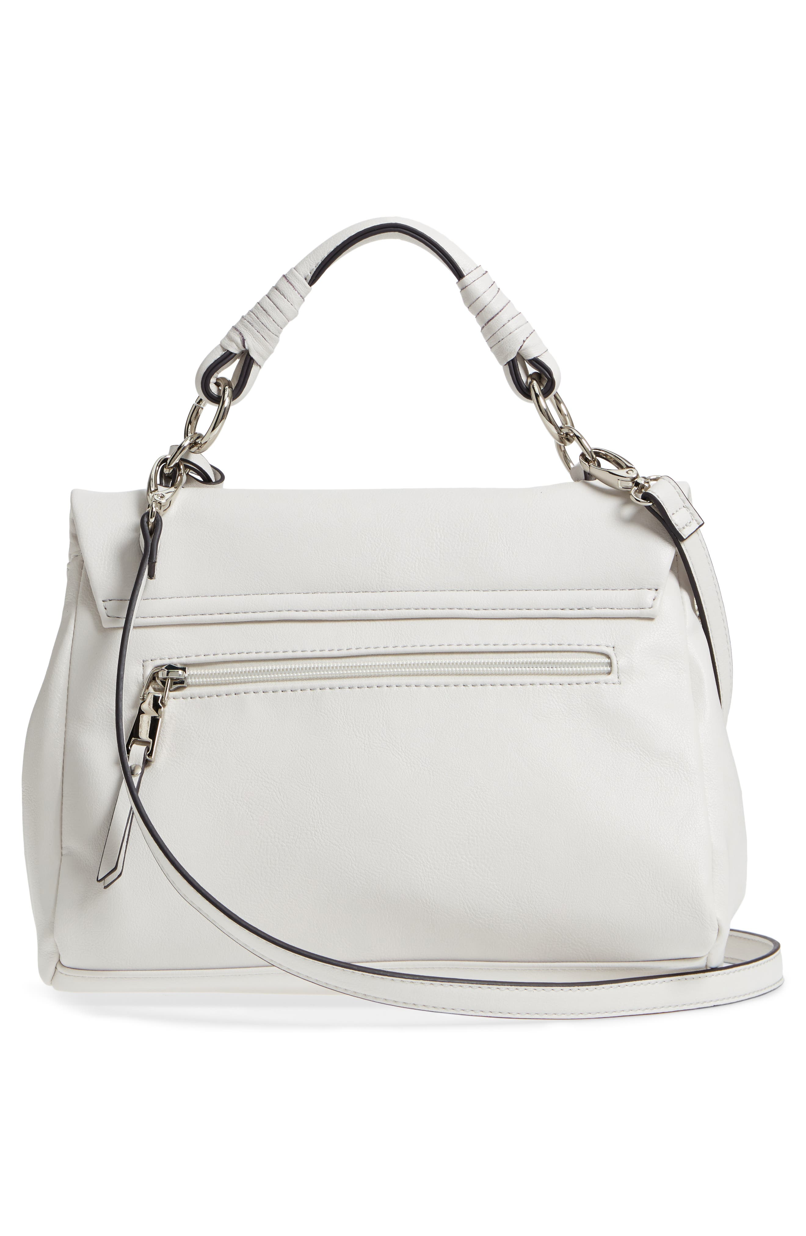 Top Handle Faux Leather Crossbody Bag,                             Alternate thumbnail 3, color,                             Linen White