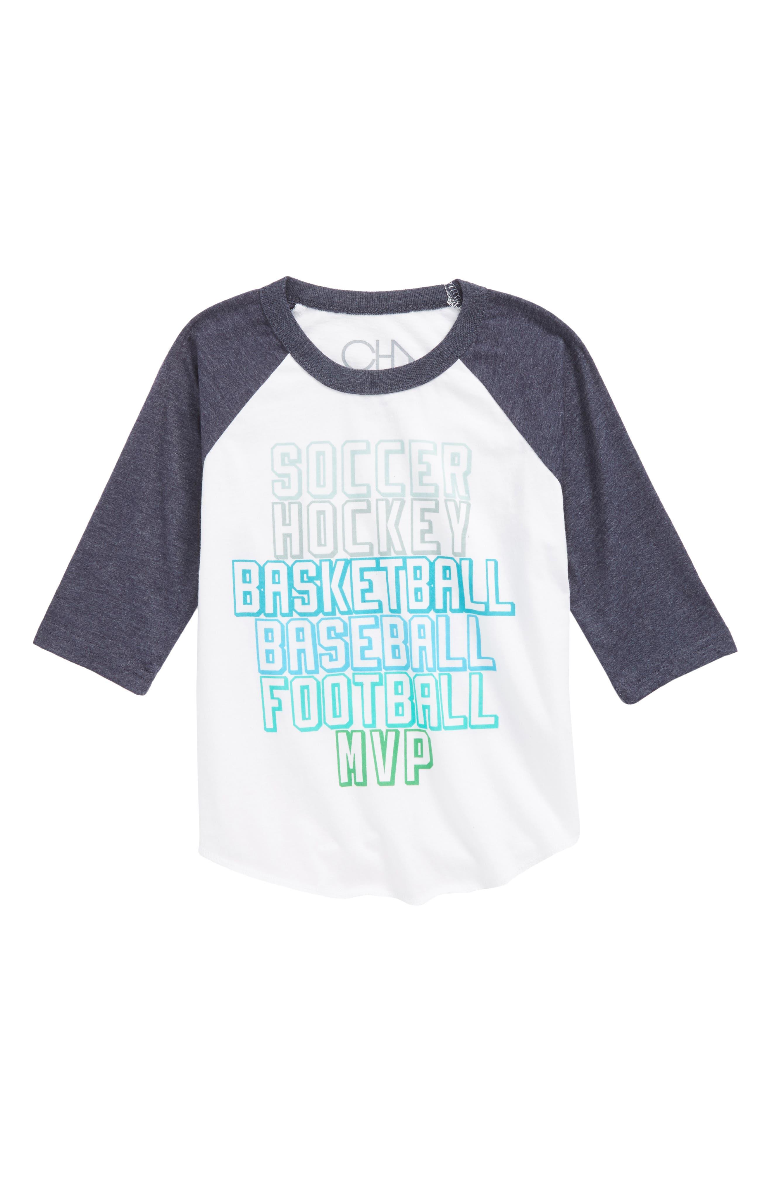 MVP Raglan T-Shirt,                         Main,                         color, White/ Avalon