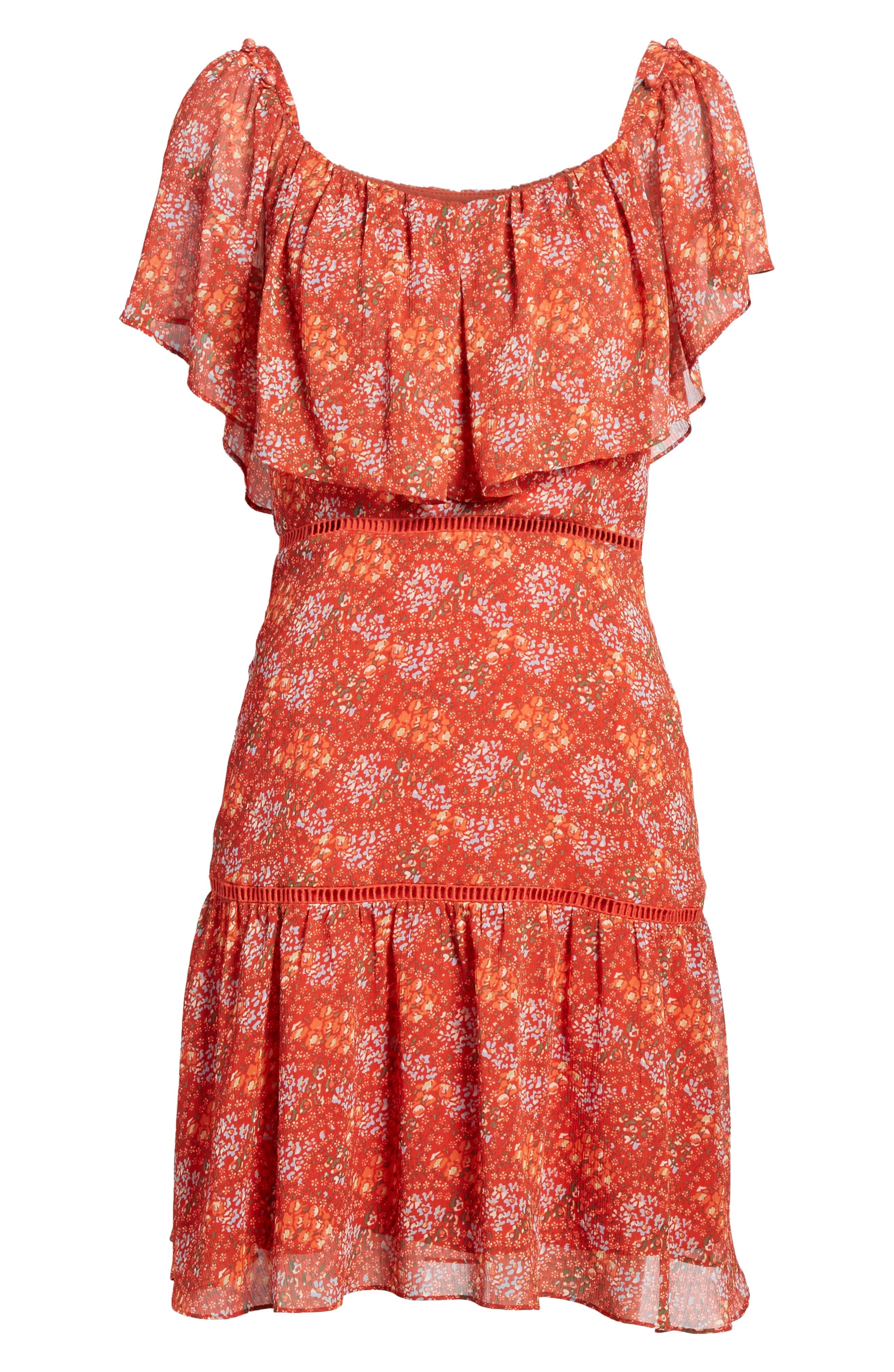 Lynne Chiffon Dress,                             Alternate thumbnail 6, color,                             Red Multi
