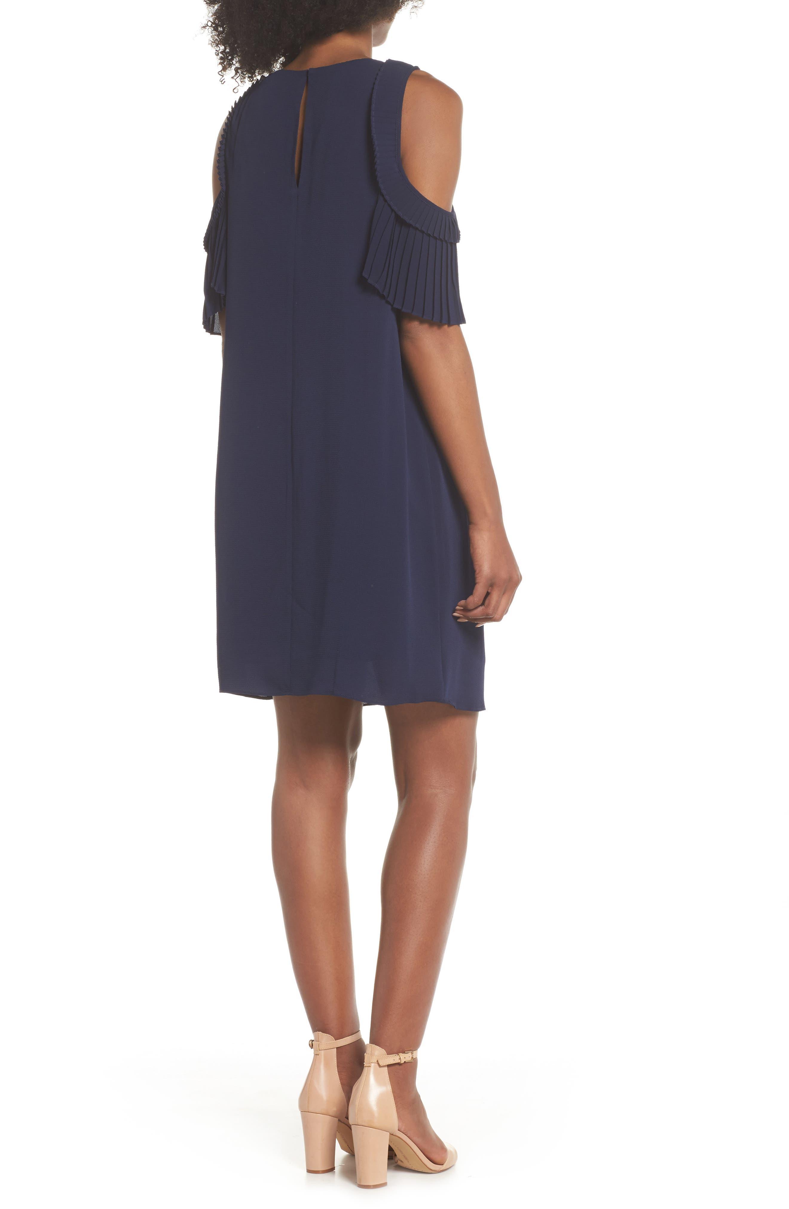 Cold Shoulder Shift Dress,                             Alternate thumbnail 2, color,                             Galaxy Blue