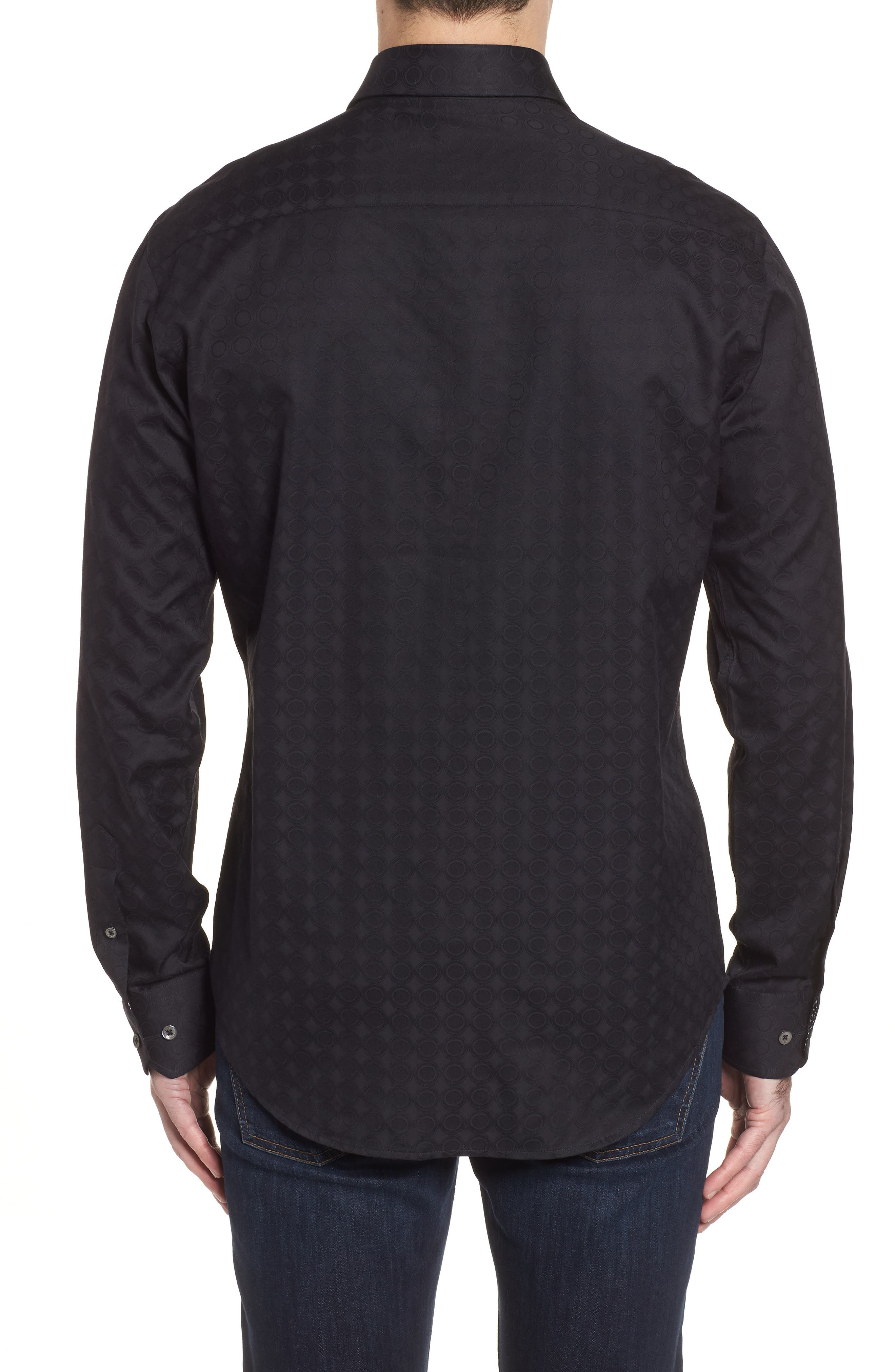 Shaped Fit Circle Print Sport Shirt,                             Alternate thumbnail 2, color,                             Black