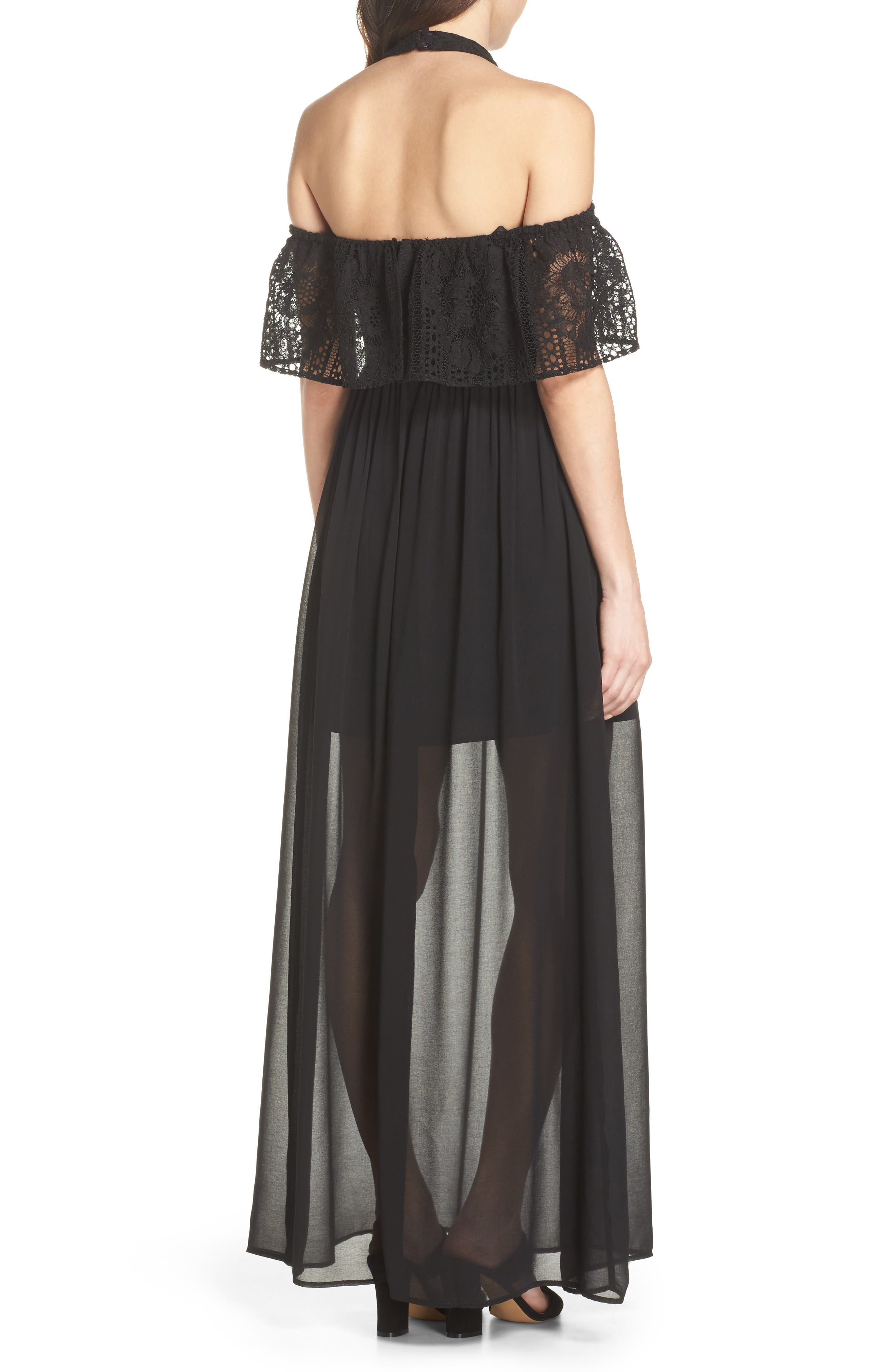 One Hand One Heart Cold Shoulder Maxi Dress,                             Alternate thumbnail 3, color,                             Black