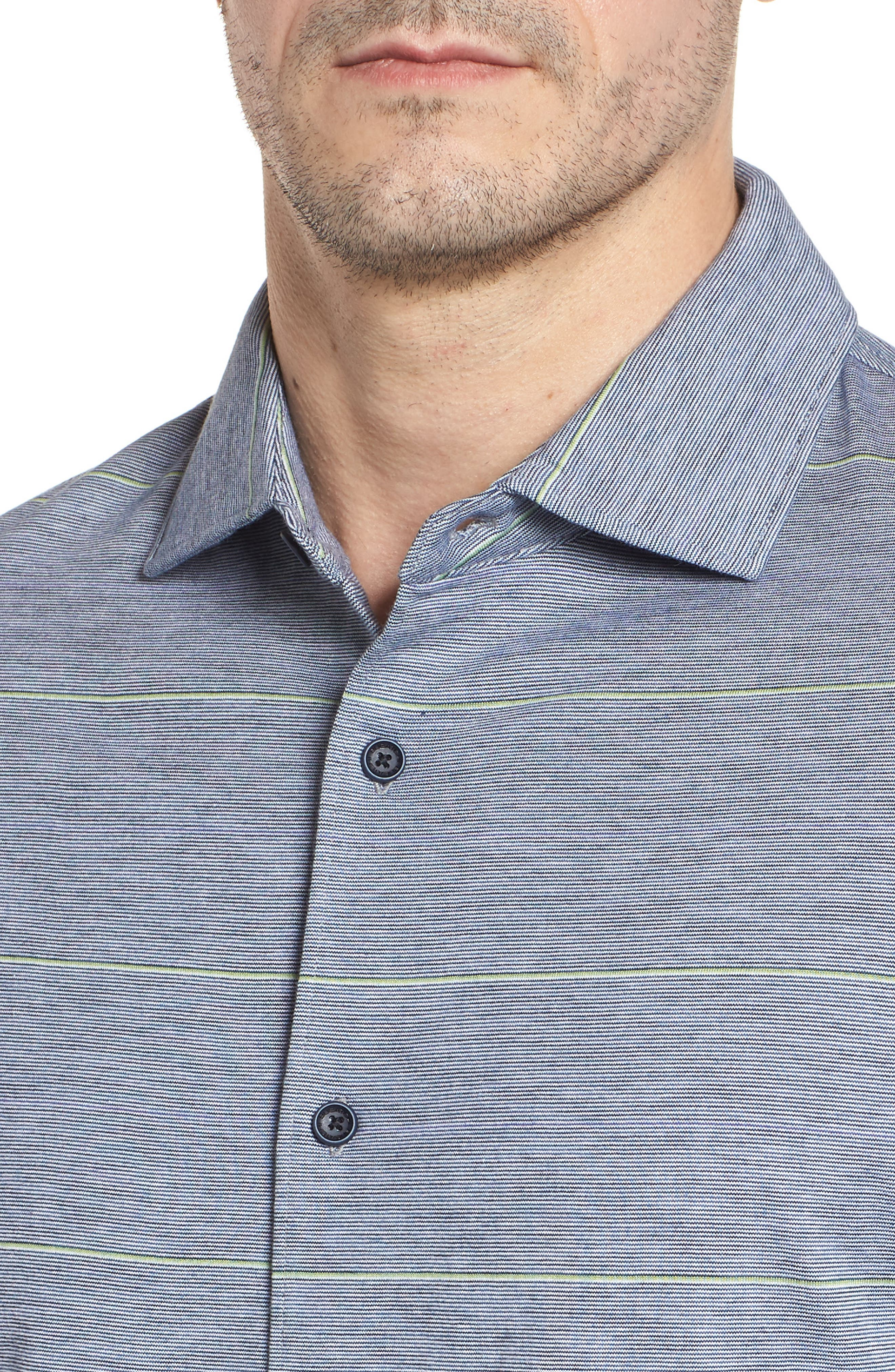 Regular Fit Stripe Knit Sport Shirt,                             Alternate thumbnail 4, color,                             Platinum