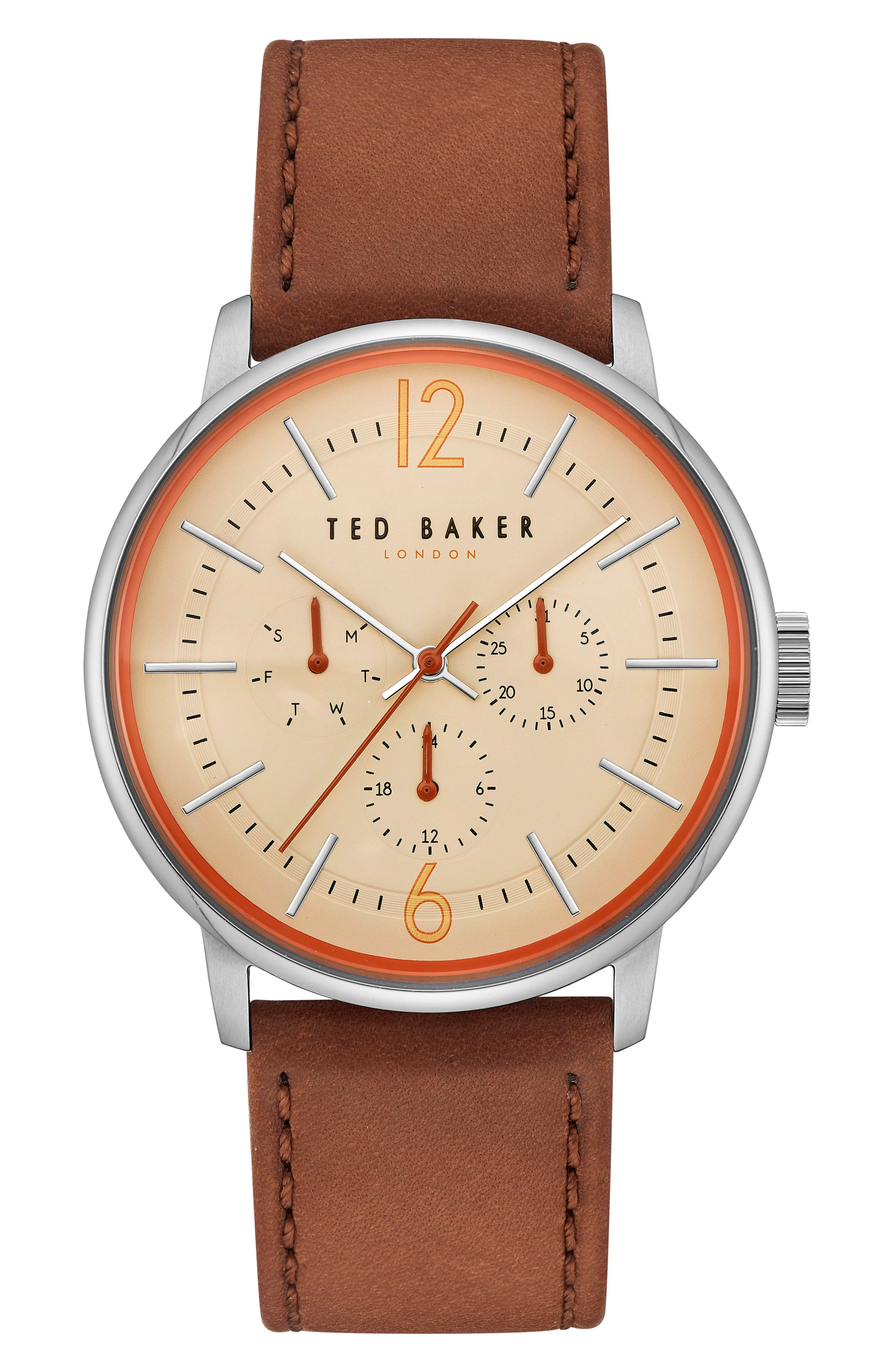 Ted Baker London Jason Multifunction Leather Strap Watch, 42mm