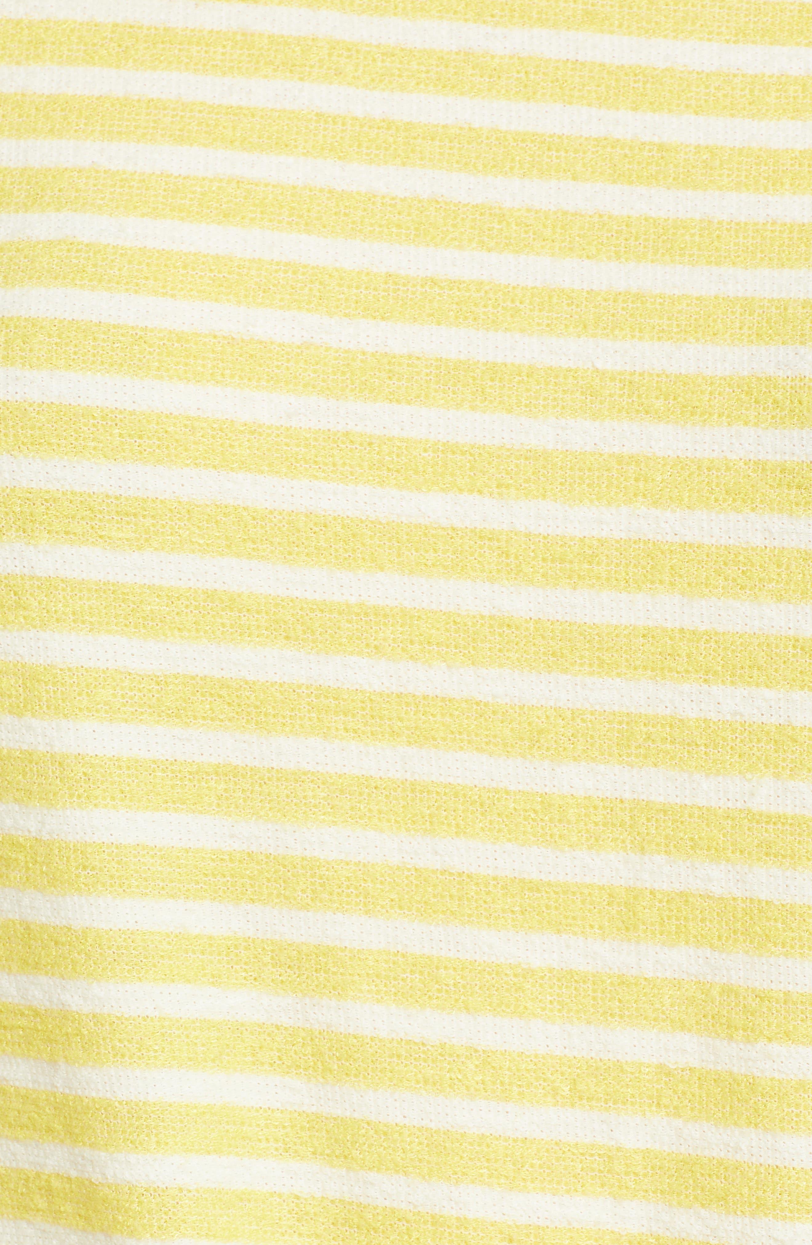 Tie Front Stripe Top,                             Alternate thumbnail 6, color,                             Yellow/ White Stripe