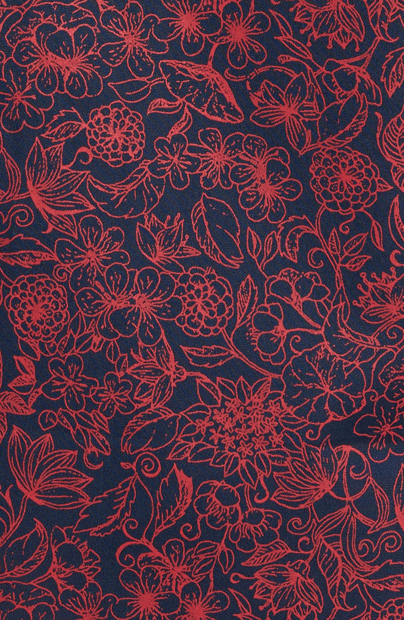 Trim Fit Non-Iron Floral Sport Shirt,                             Alternate thumbnail 5, color,                             Navy Iris Red Bloom