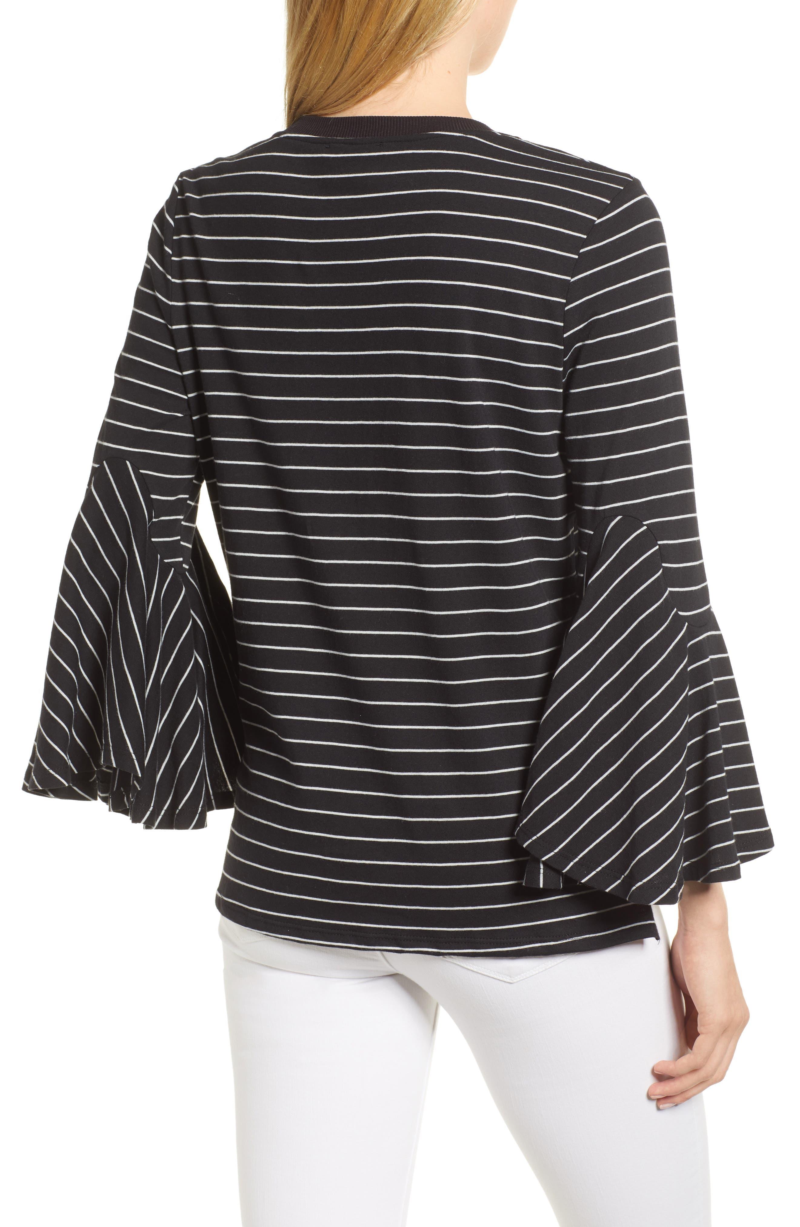 Stripe Bell Sleeve Top,                             Alternate thumbnail 2, color,                             Black/ White Even Stripe
