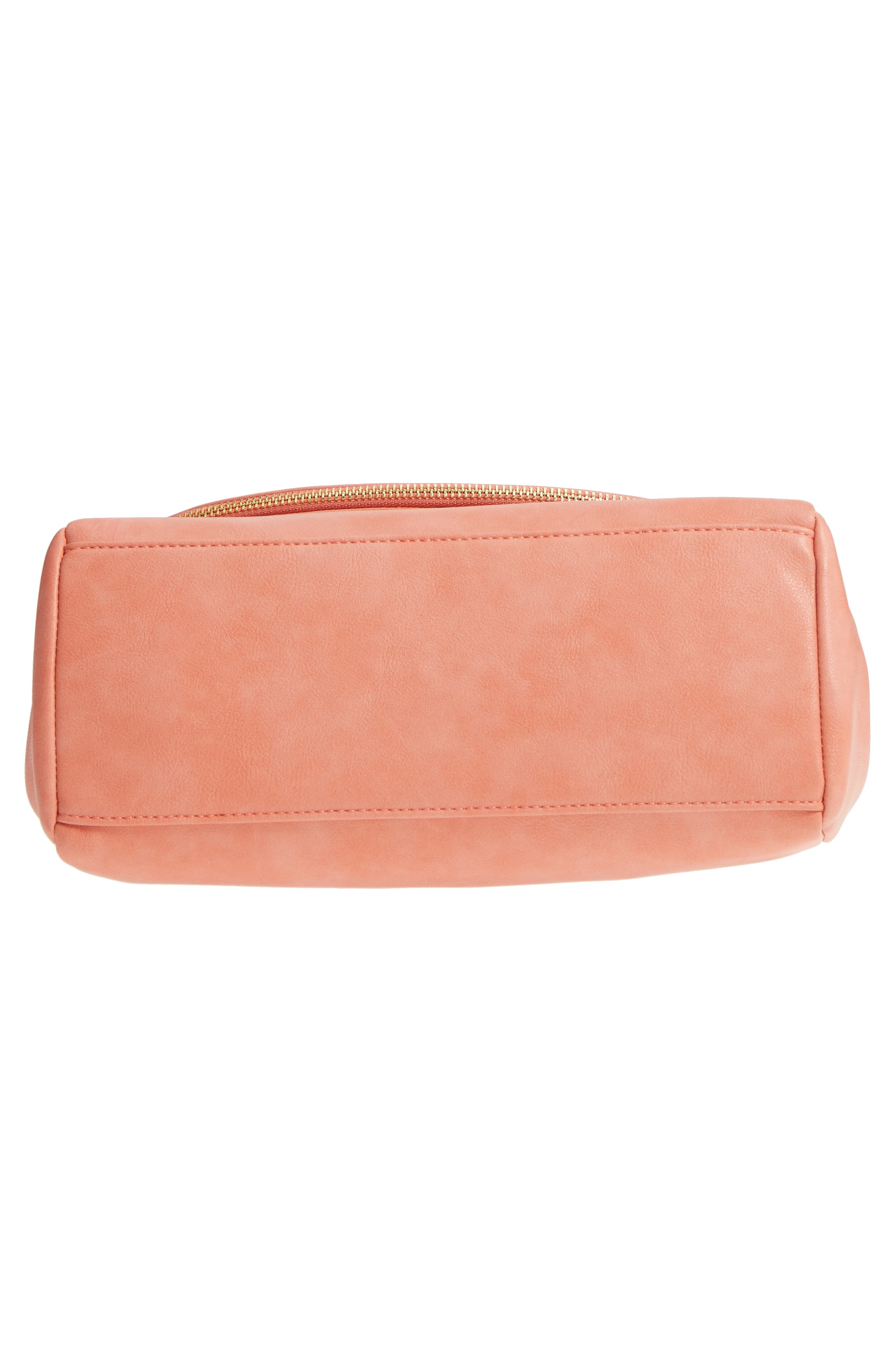Top Handle Faux Leather Crossbody Bag,                             Alternate thumbnail 6, color,                             Deep Coral
