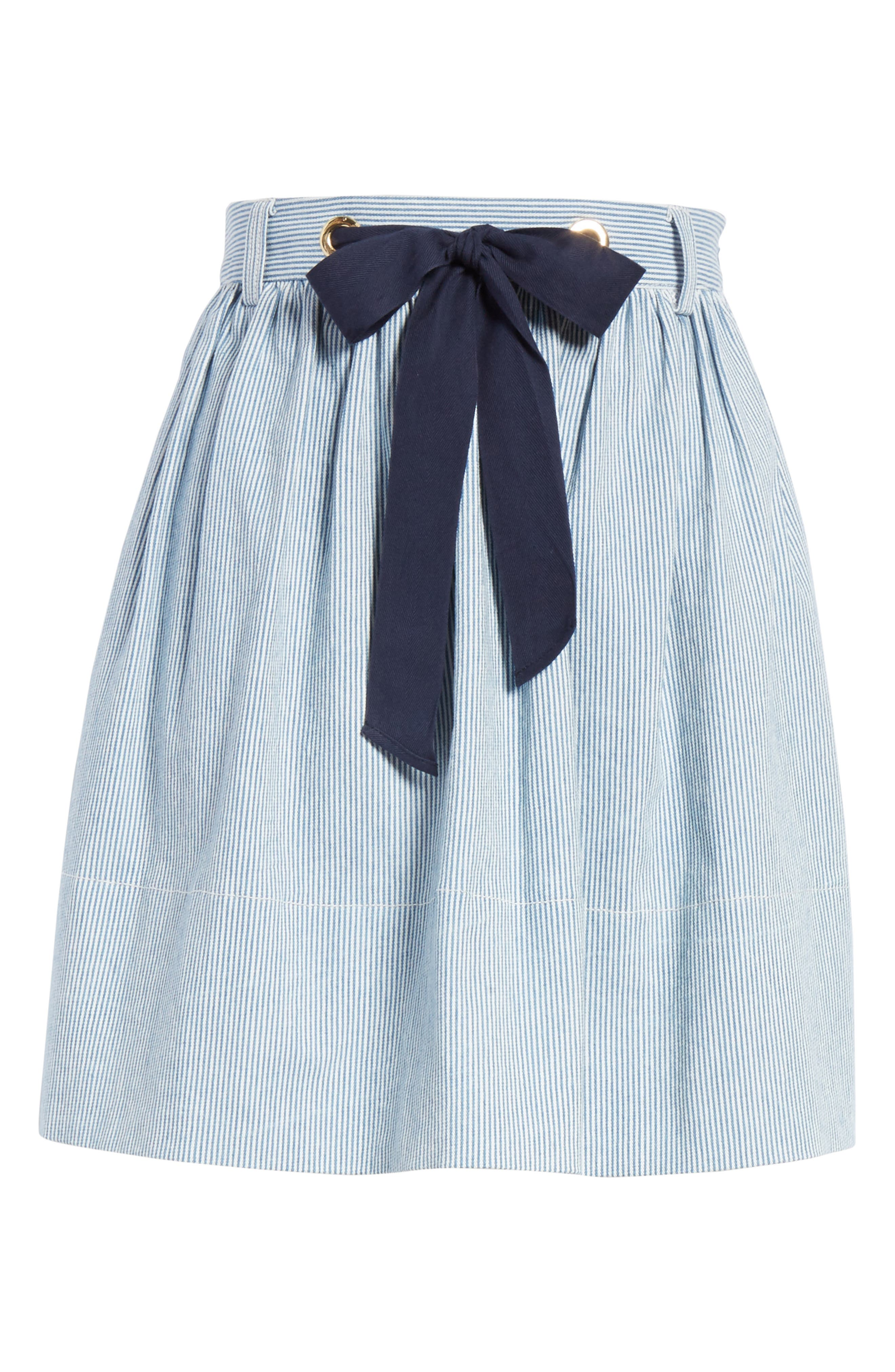 railroad stripe denim skirt,                             Alternate thumbnail 6, color,                             Indigo/ Cream