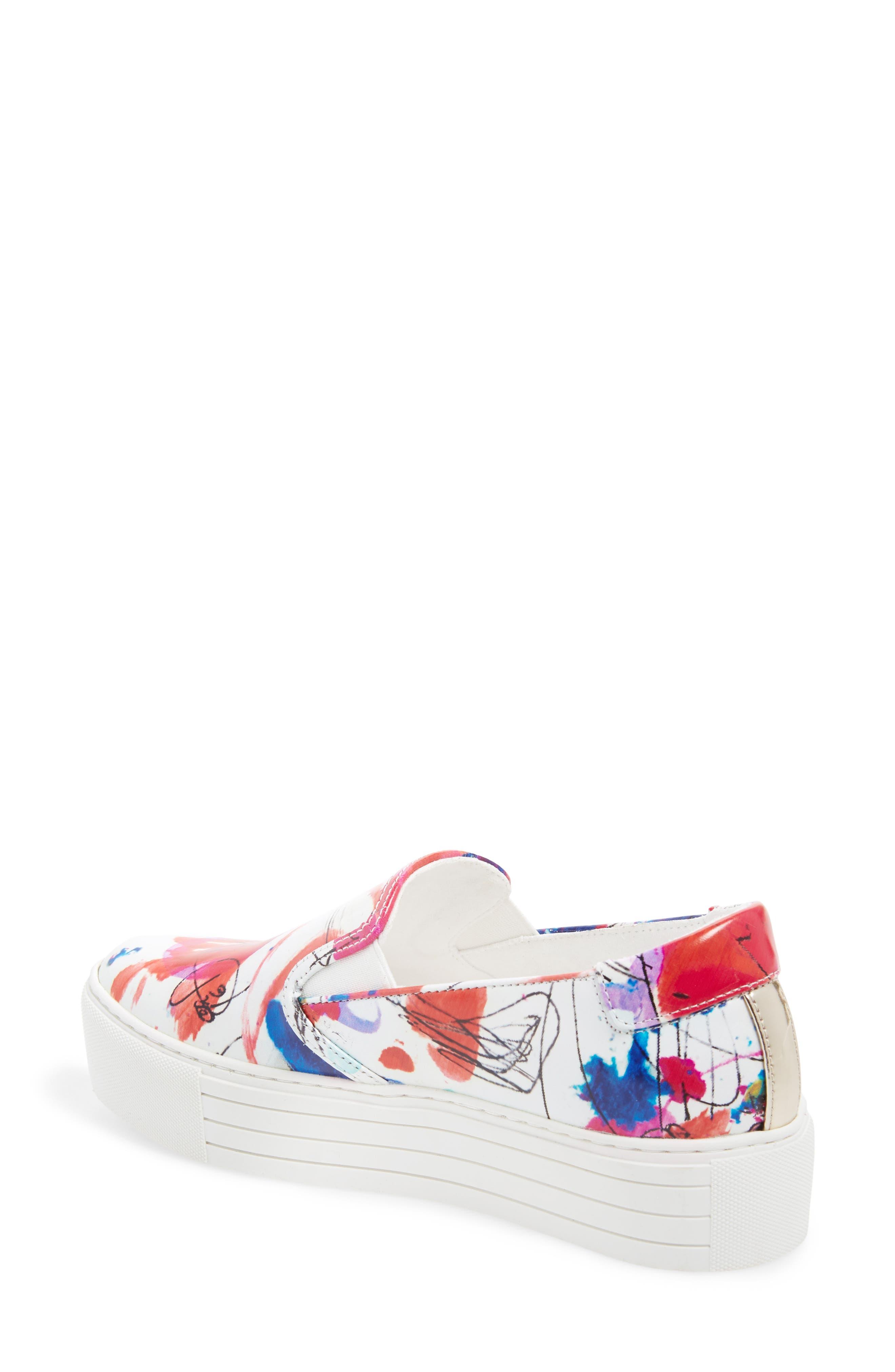 Joanie Slip-On Platform Sneaker,                             Alternate thumbnail 2, color,                             White Multi Print Leather