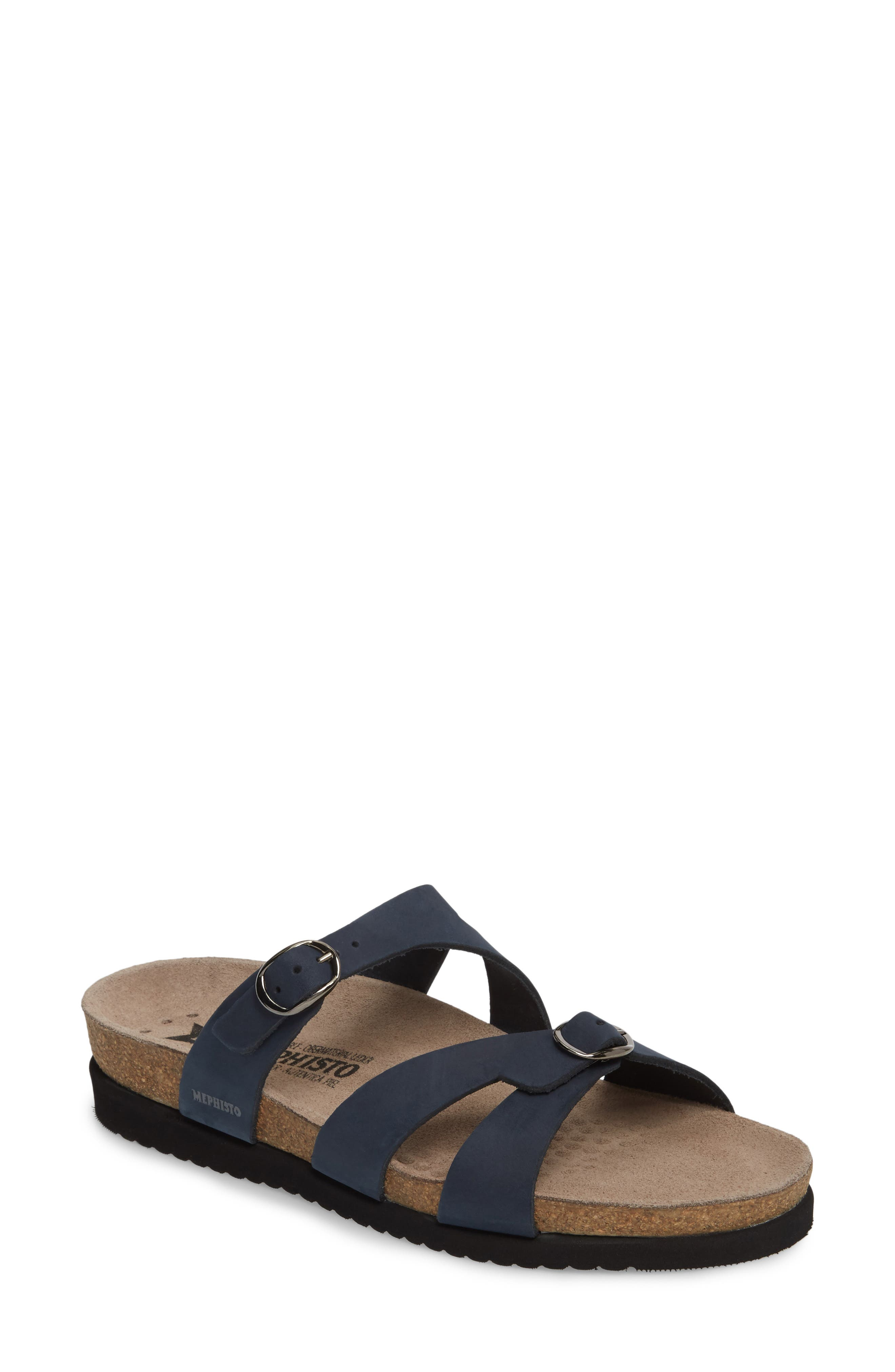 'Hannel' Sandal,                             Main thumbnail 1, color,                             Navy Nubuck Leather