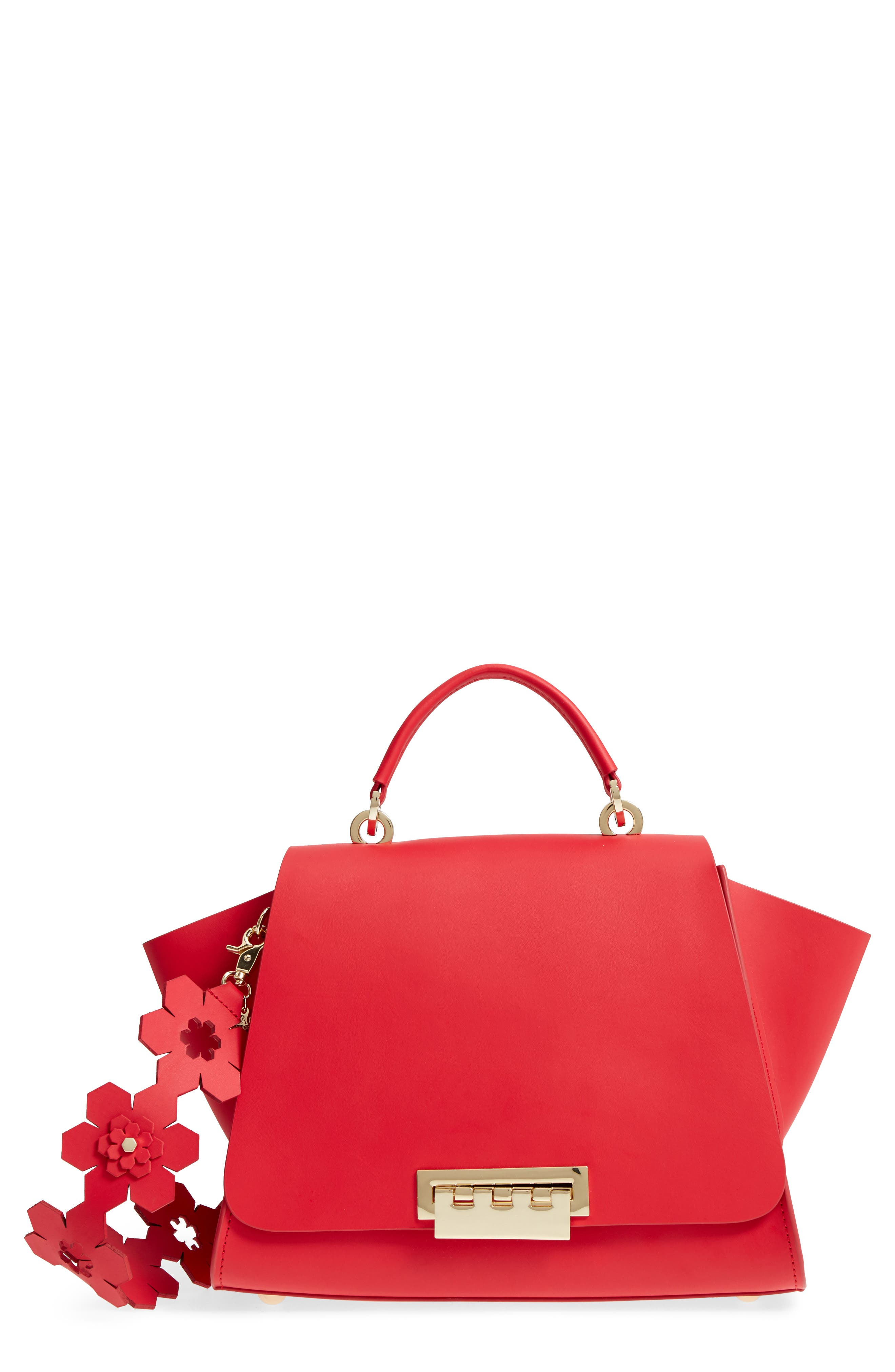 Eartha Iconic Calfskin Leather Top Handle Satchel,                         Main,                         color, Red
