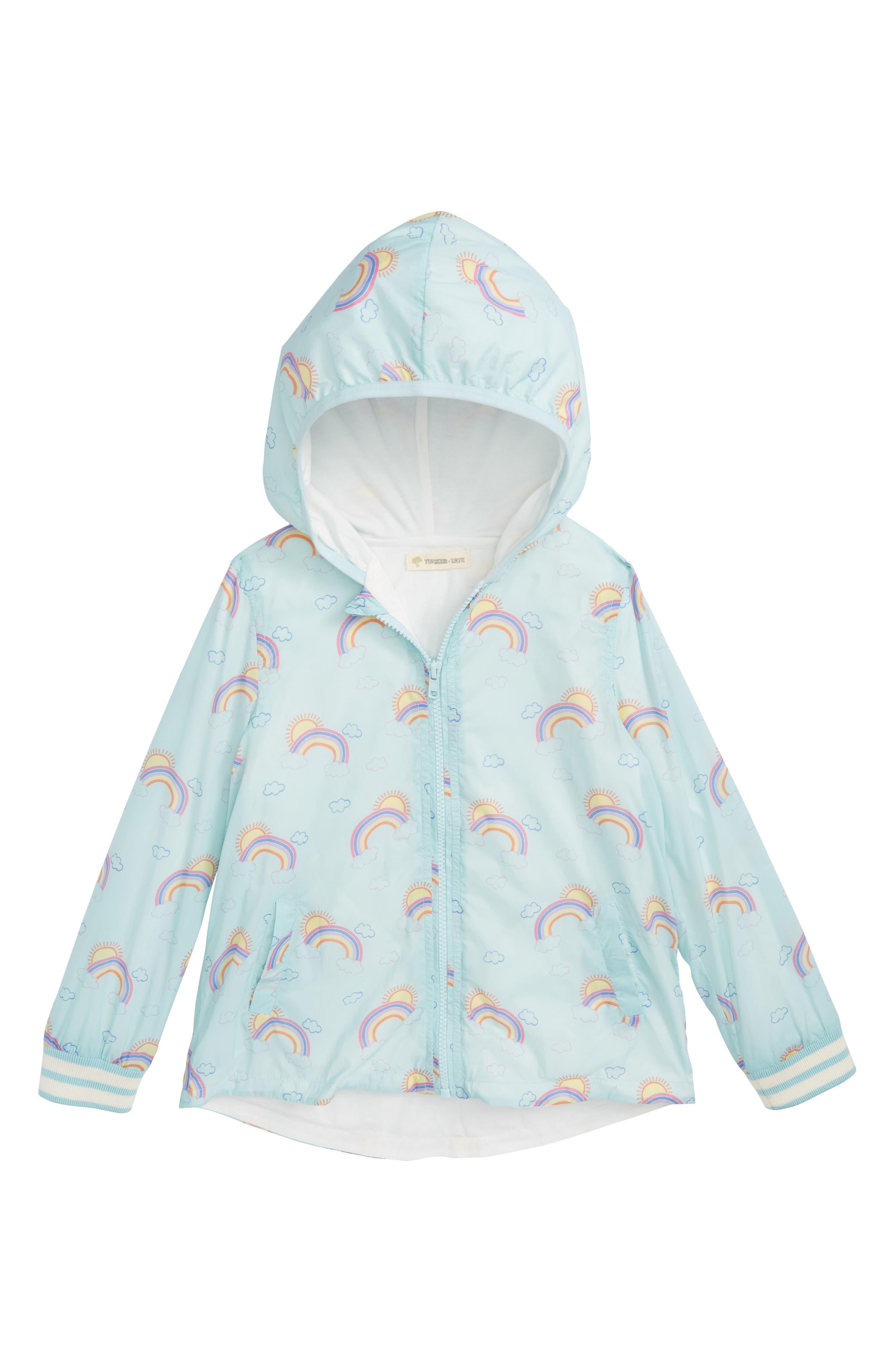 Rainbow Print Hooded Jacket,                         Main,                         color, Blue Glow Rainbows
