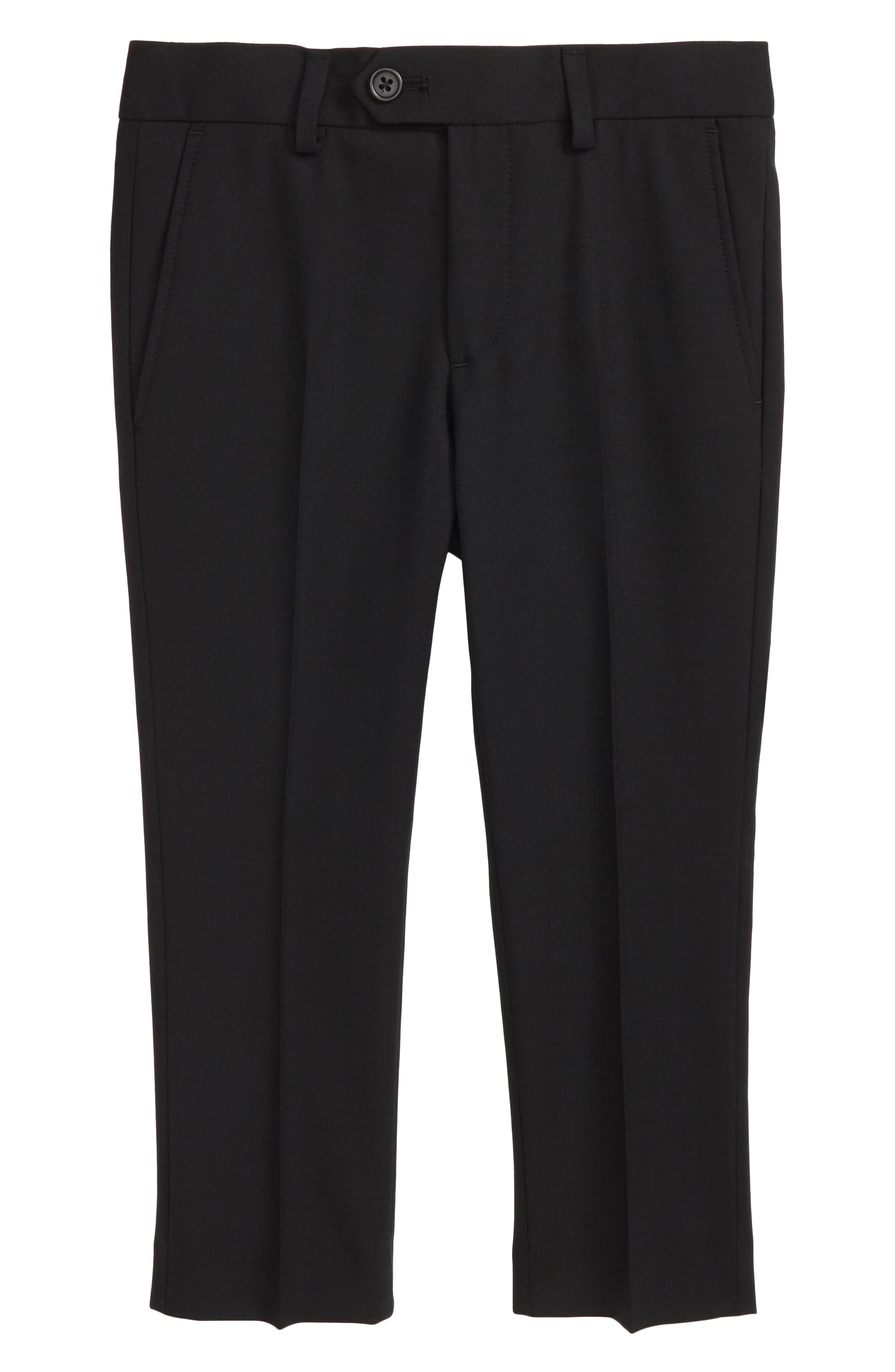 Solid Wool Blend Flat Front Trousers,                             Main thumbnail 1, color,                             Black