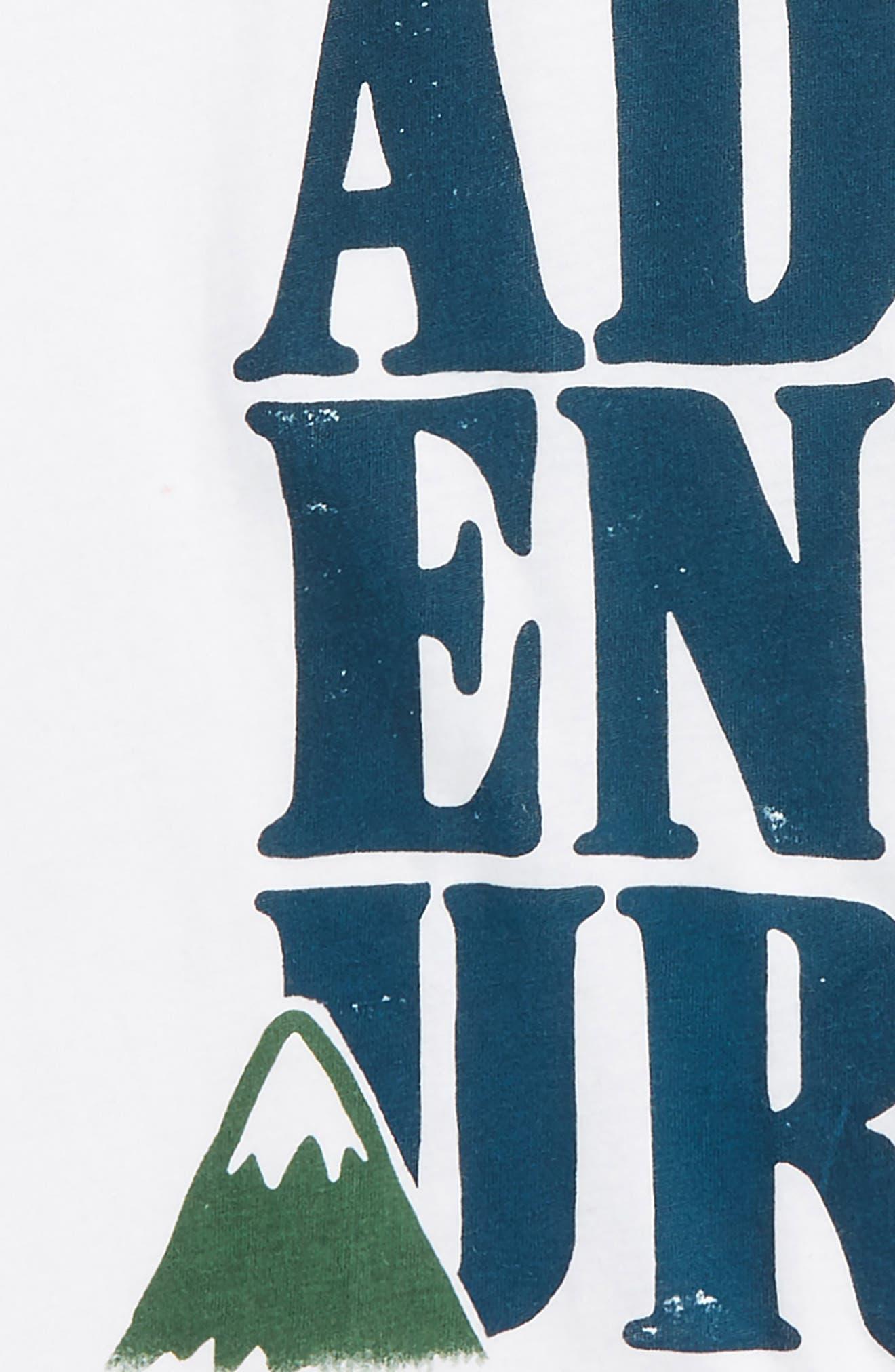 Adventure Raglan T-Shirt,                             Alternate thumbnail 2, color,                             White/ Evergreen