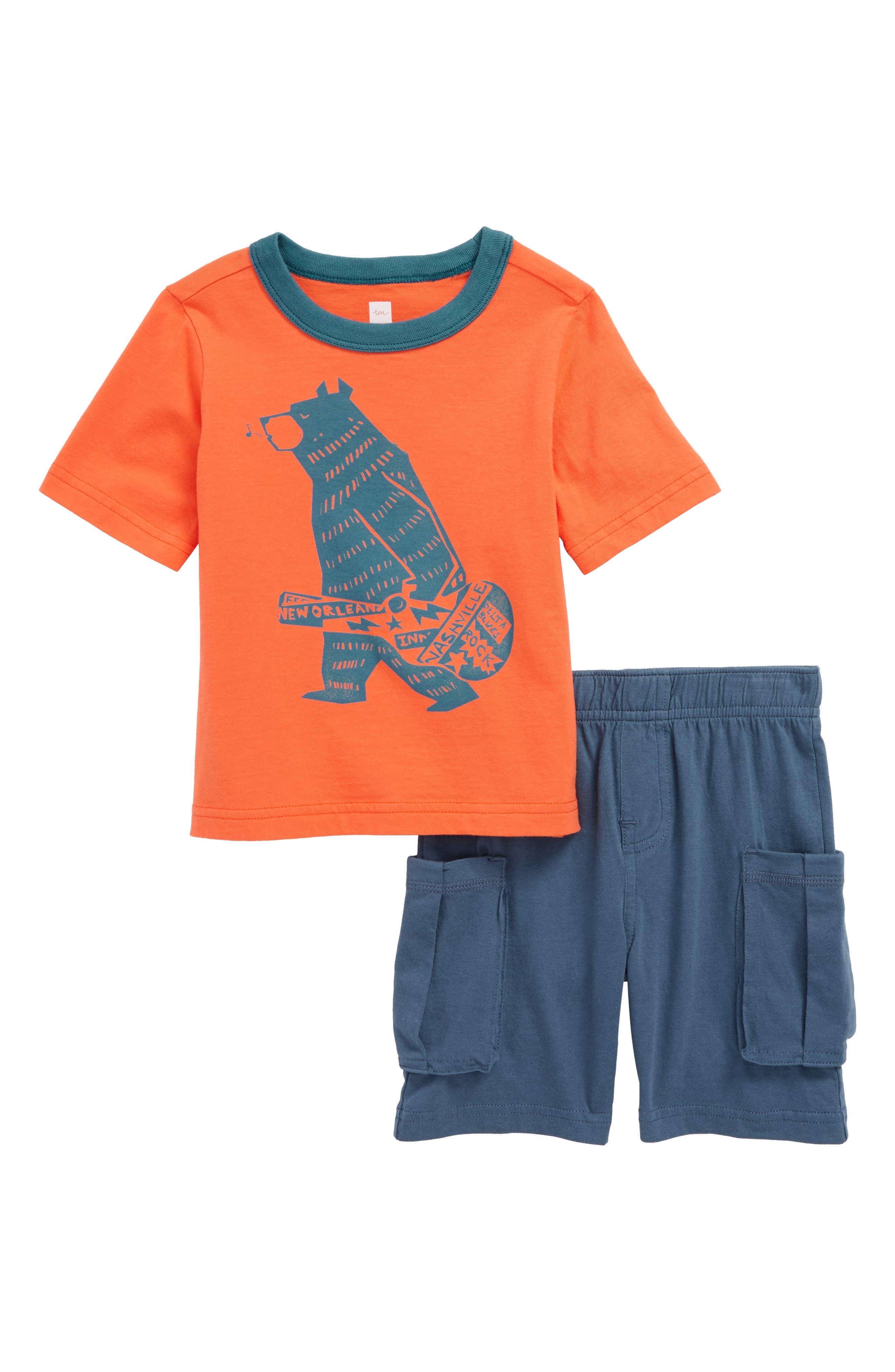 Baby Bear T-Shirt & Cargo Shorts Set,                             Main thumbnail 1, color,                             Nectarine