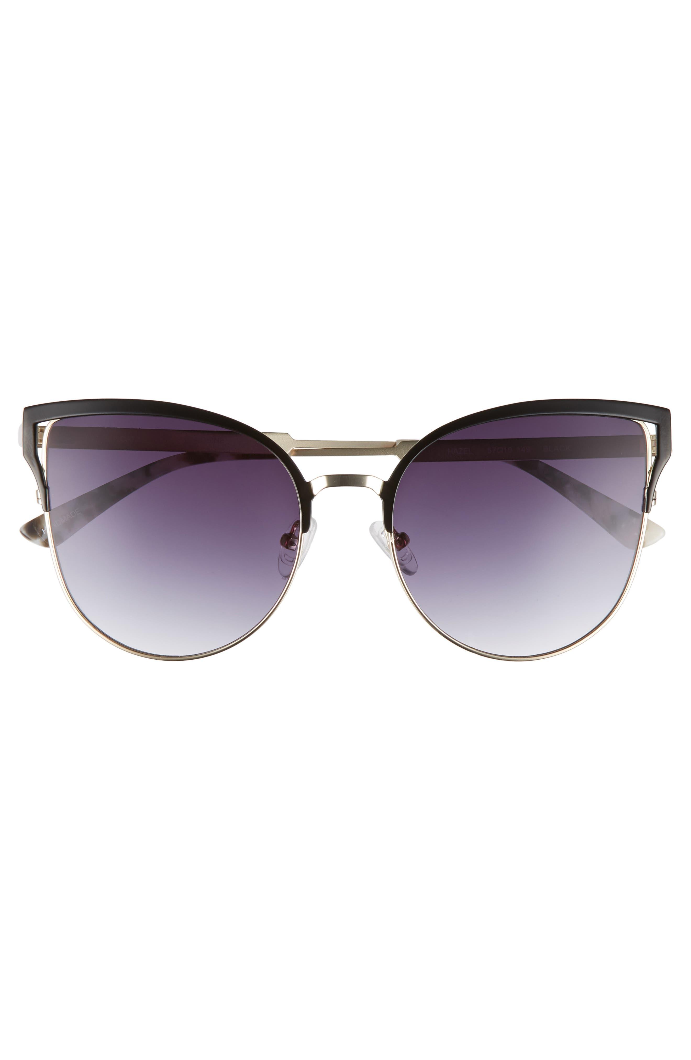 Hazel 57mm Cat Eye Sunglasses,                             Alternate thumbnail 3, color,                             Black