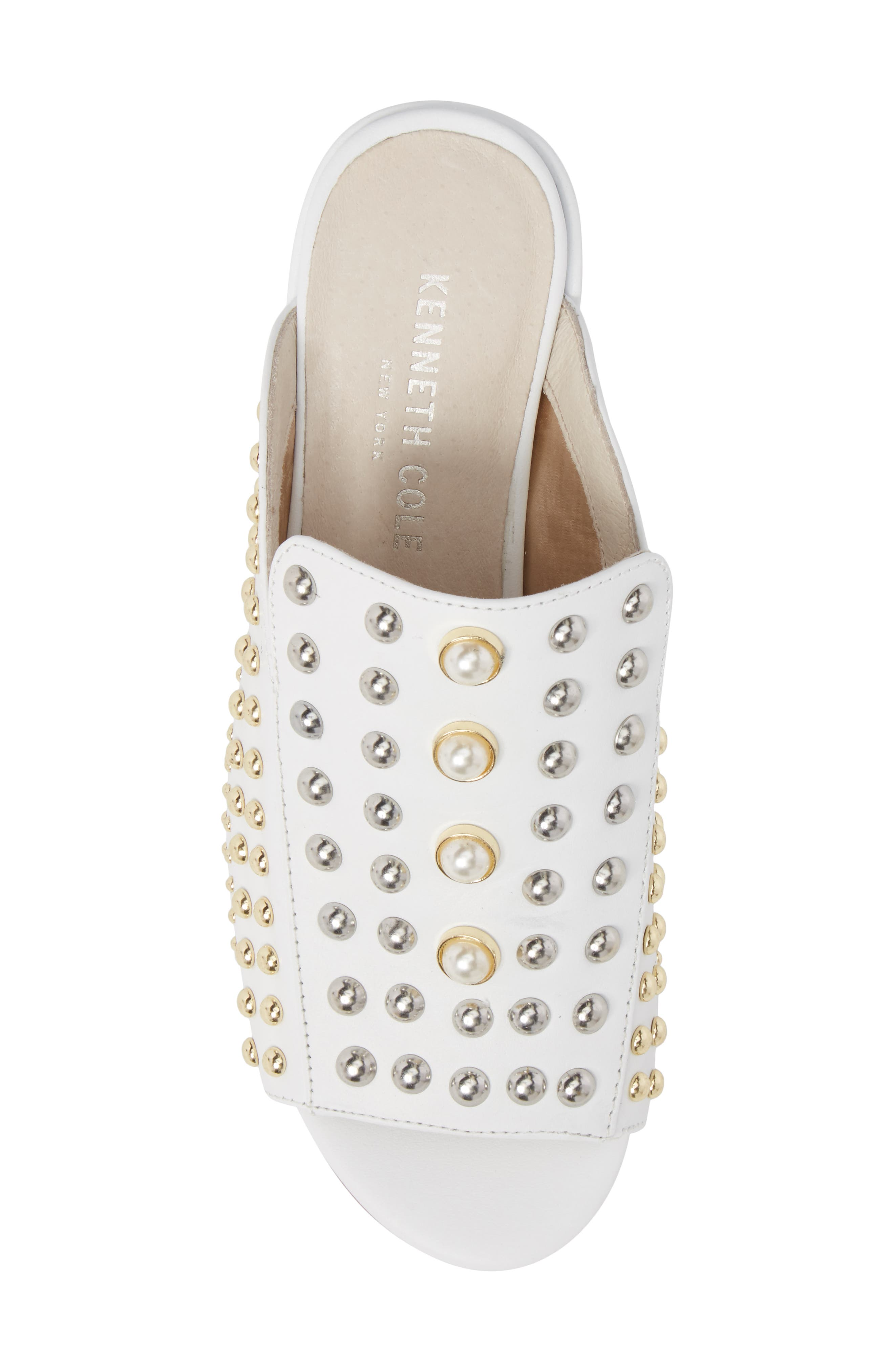 Farley Studded Slide Sandal,                             Alternate thumbnail 5, color,                             White Leather