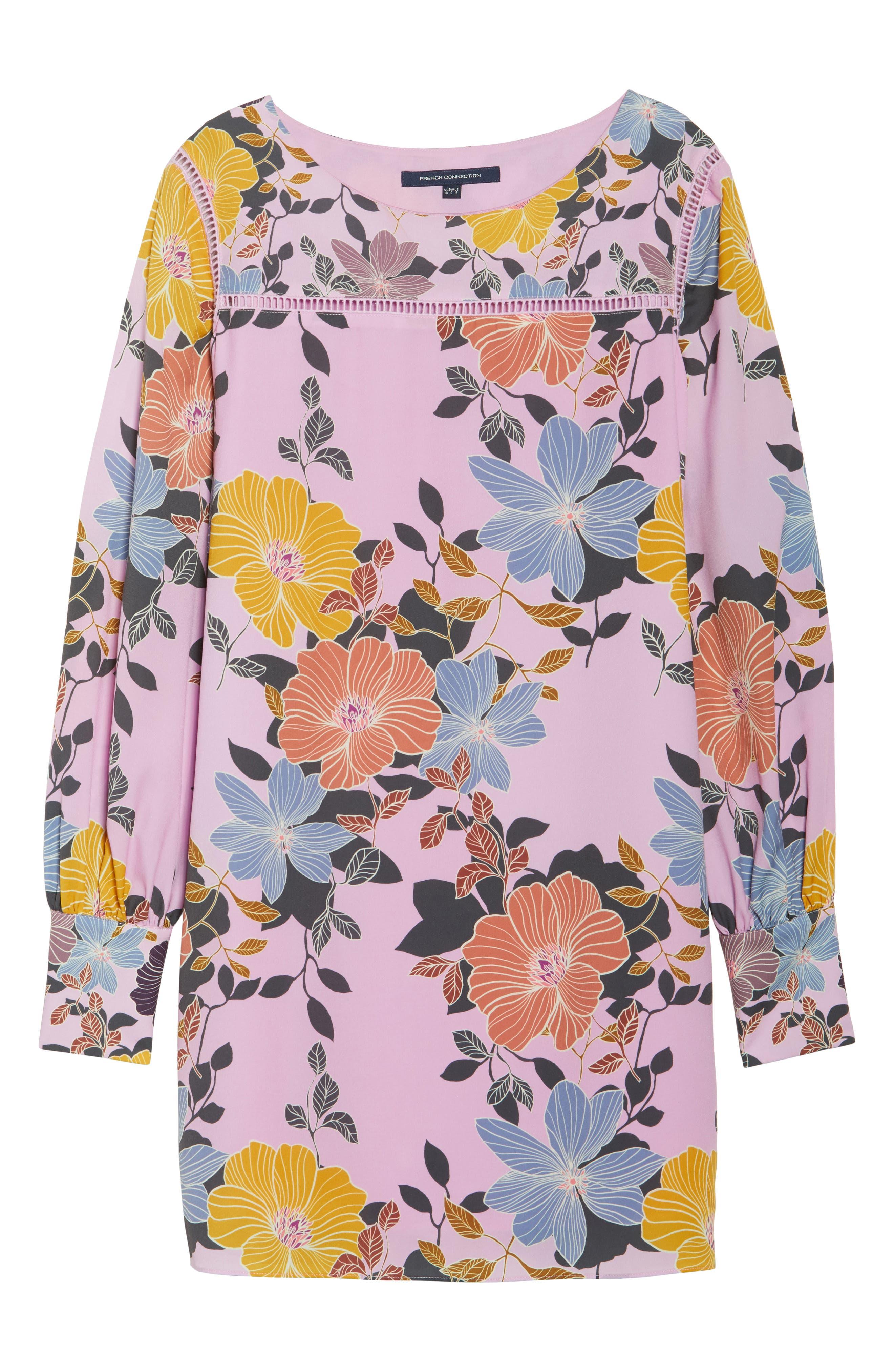 Shikoku Floral Crepe Shift Dress,                             Alternate thumbnail 6, color,                             Violet Vice Multi