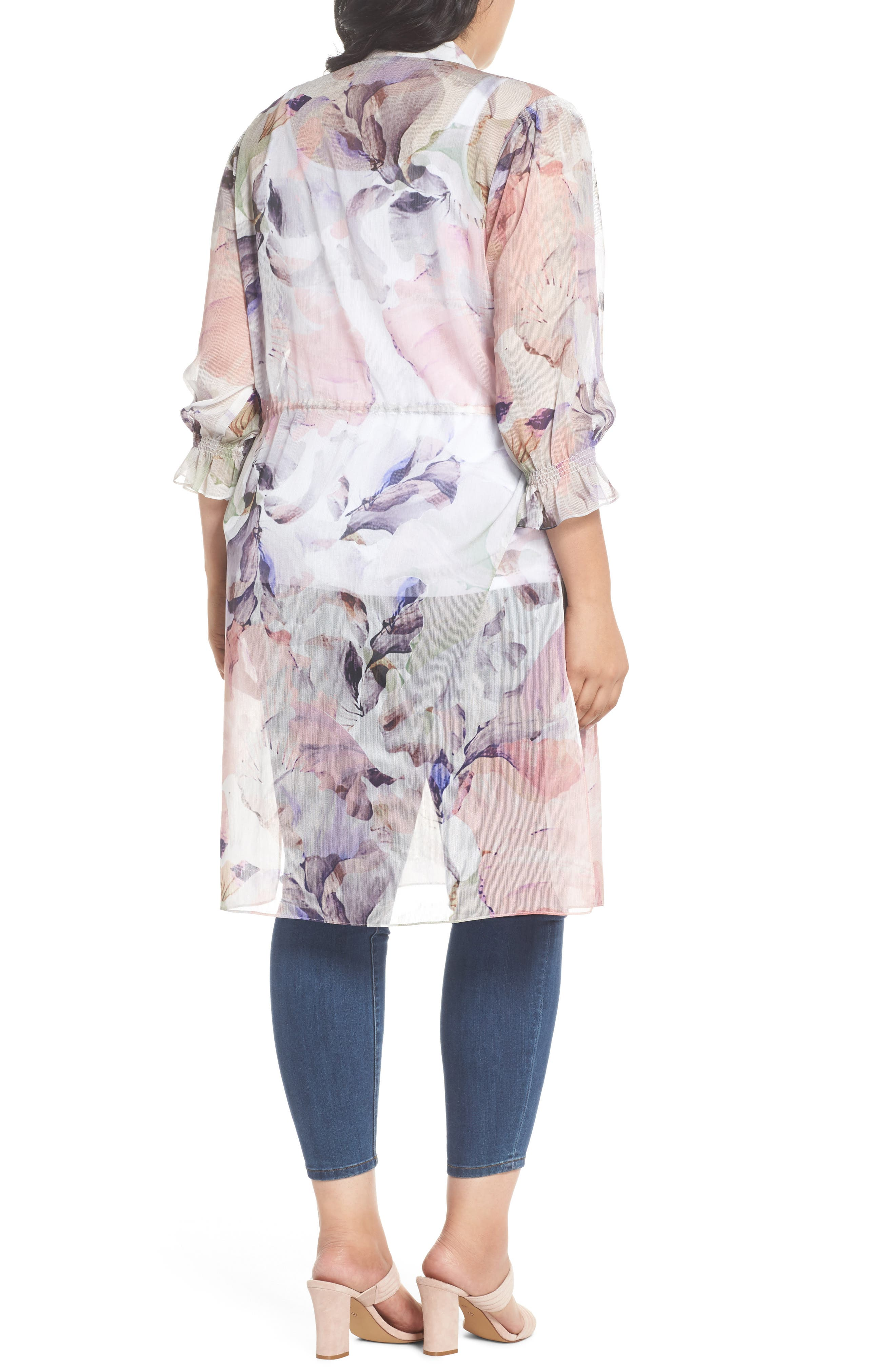 Diffused Bloom Tunic Dress,                             Alternate thumbnail 2, color,                             New Ivory