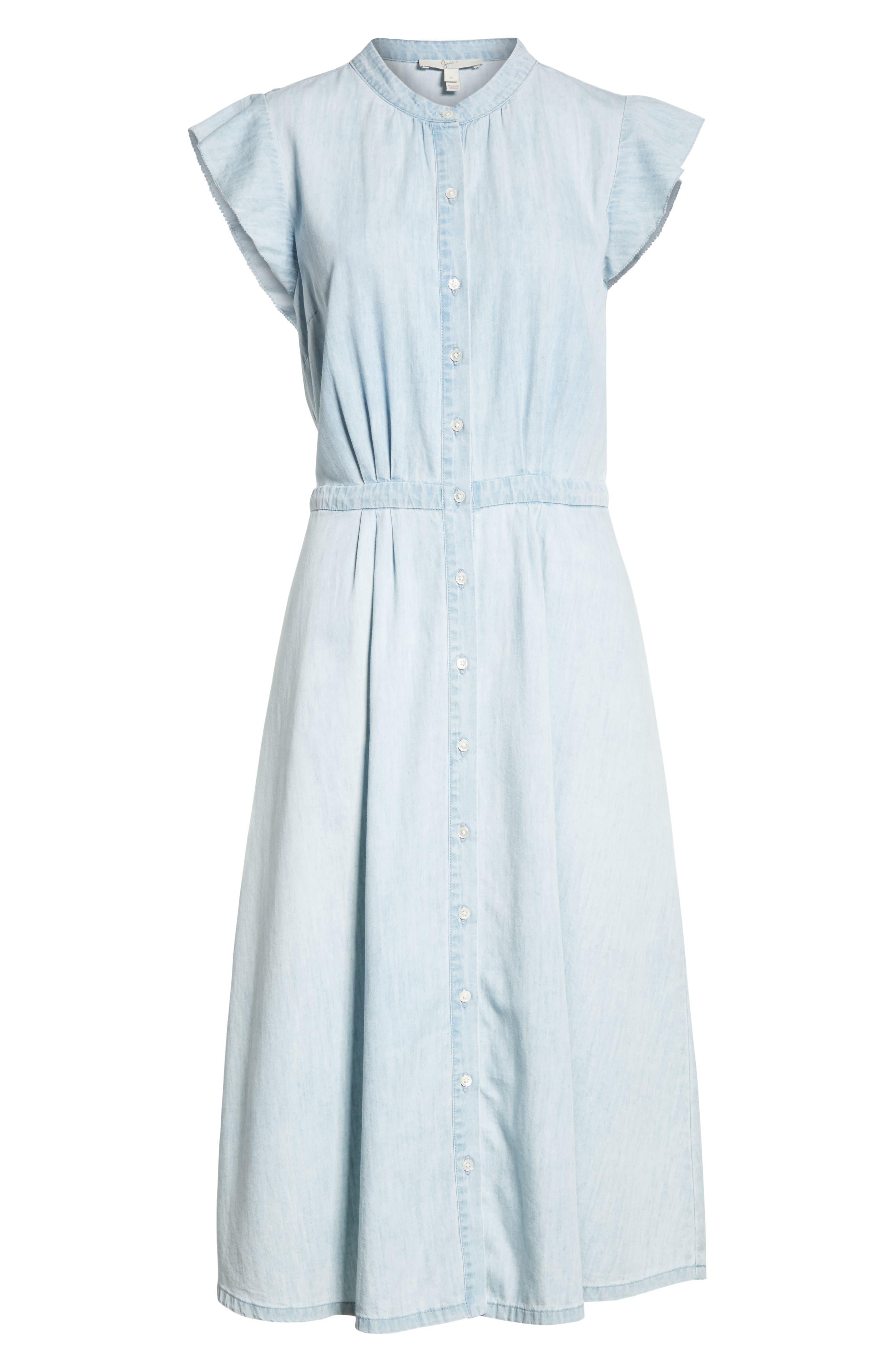 Awel Ruffle Chambray Shirtdress,                             Alternate thumbnail 6, color,                             Western Fade