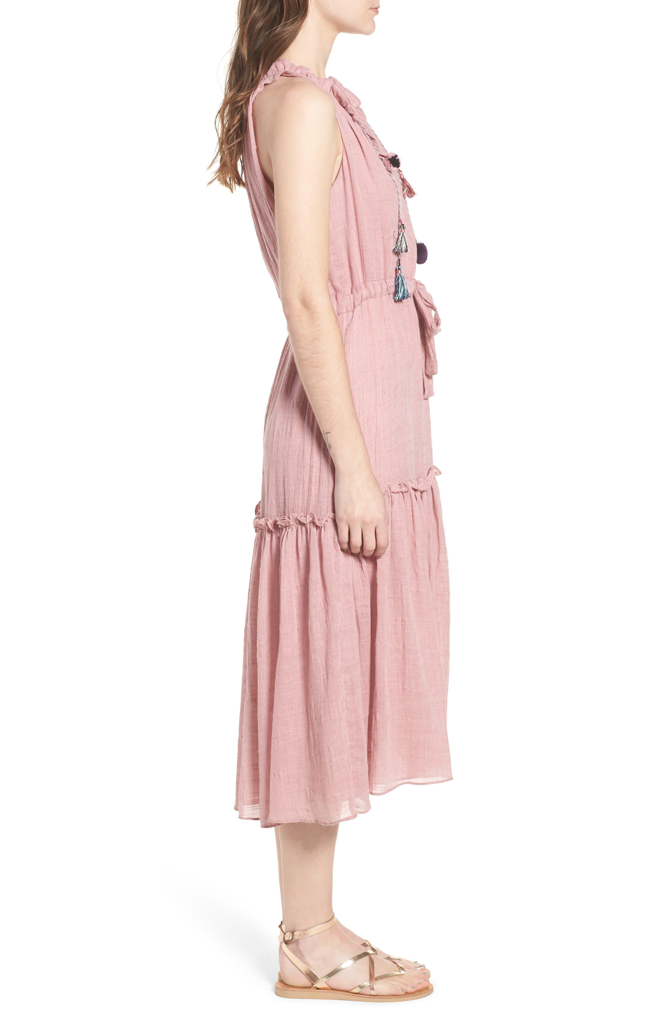 Nicolleta Tie Waist Midi Dress,                             Alternate thumbnail 3, color,                             Dusty Pink