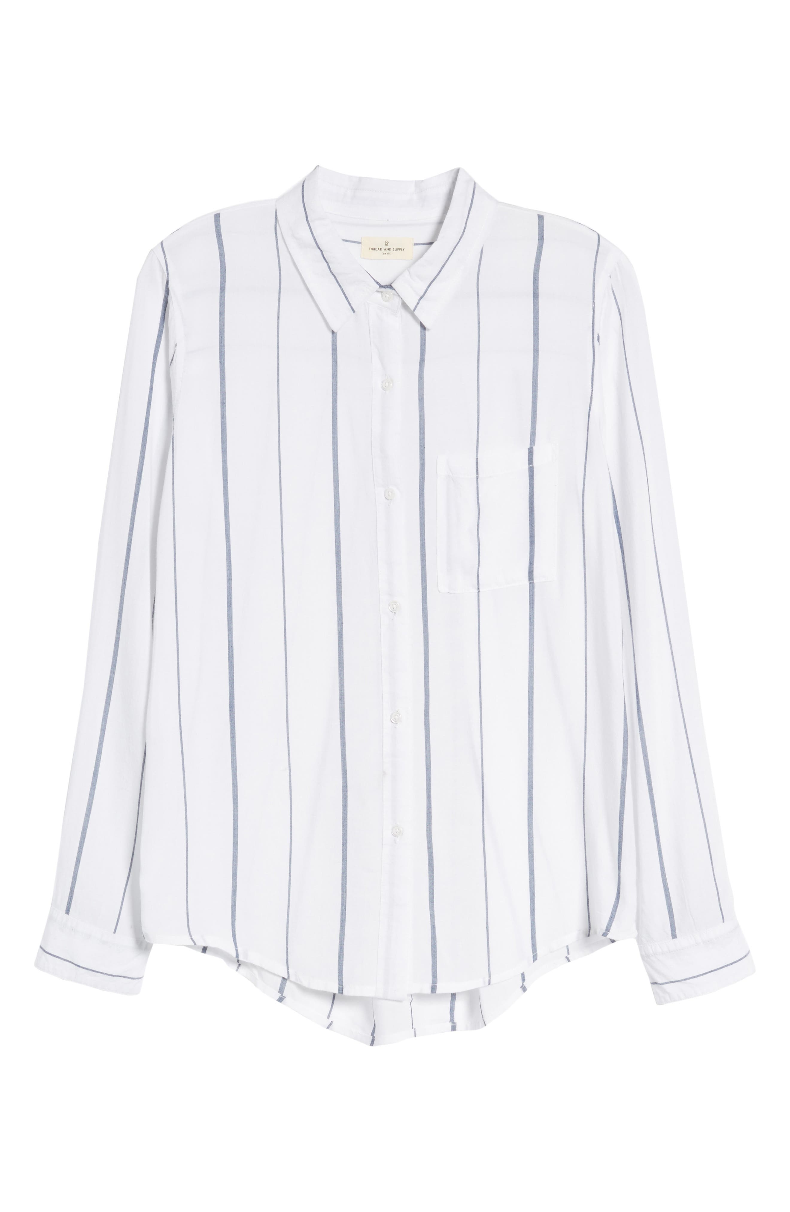 Canyons Stripe Shirt,                             Alternate thumbnail 6, color,                             White/ Navy Stripe