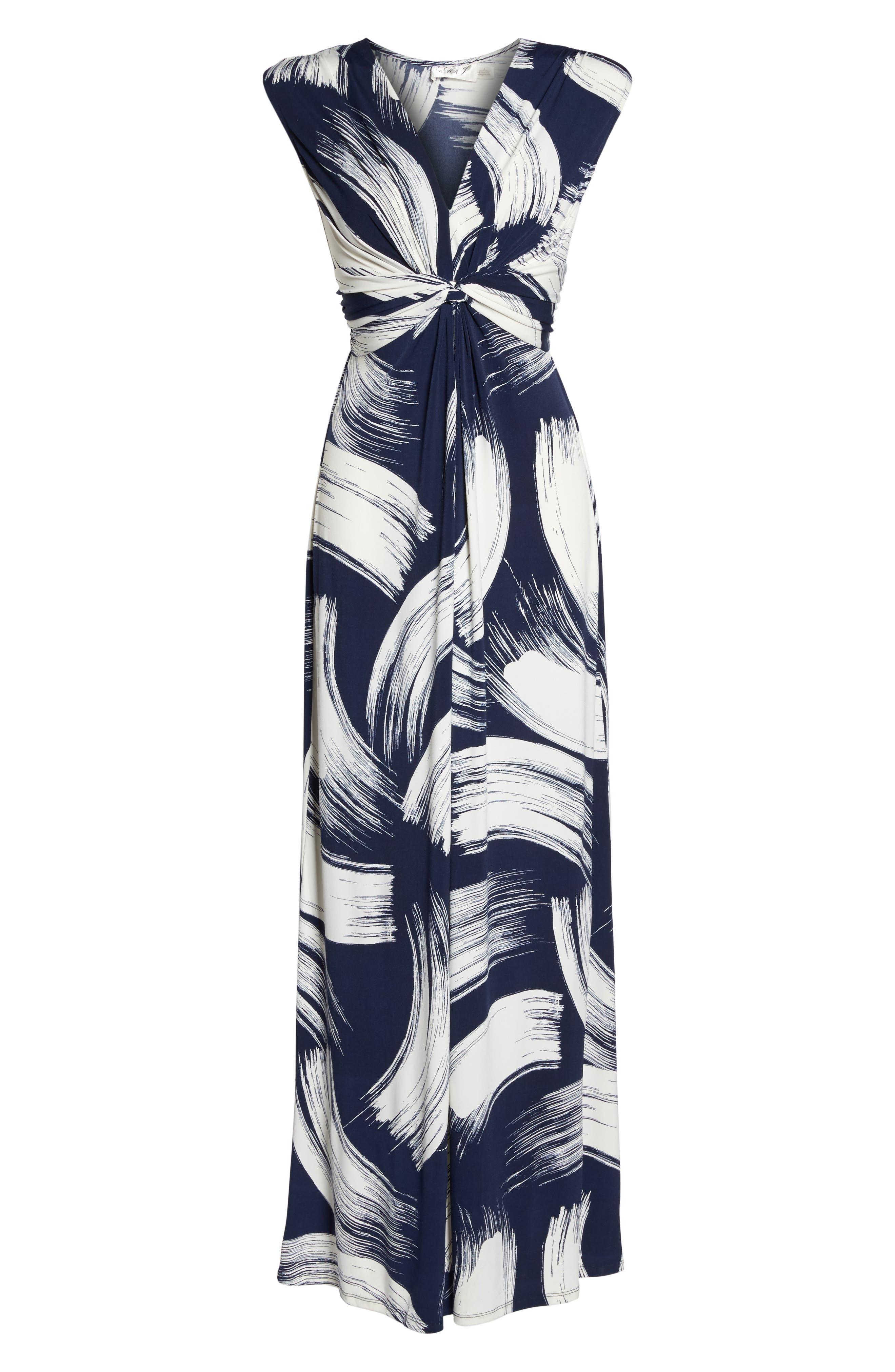 Alternate Image 6  - Eliza J Brush Print Jersey Maxi Dress