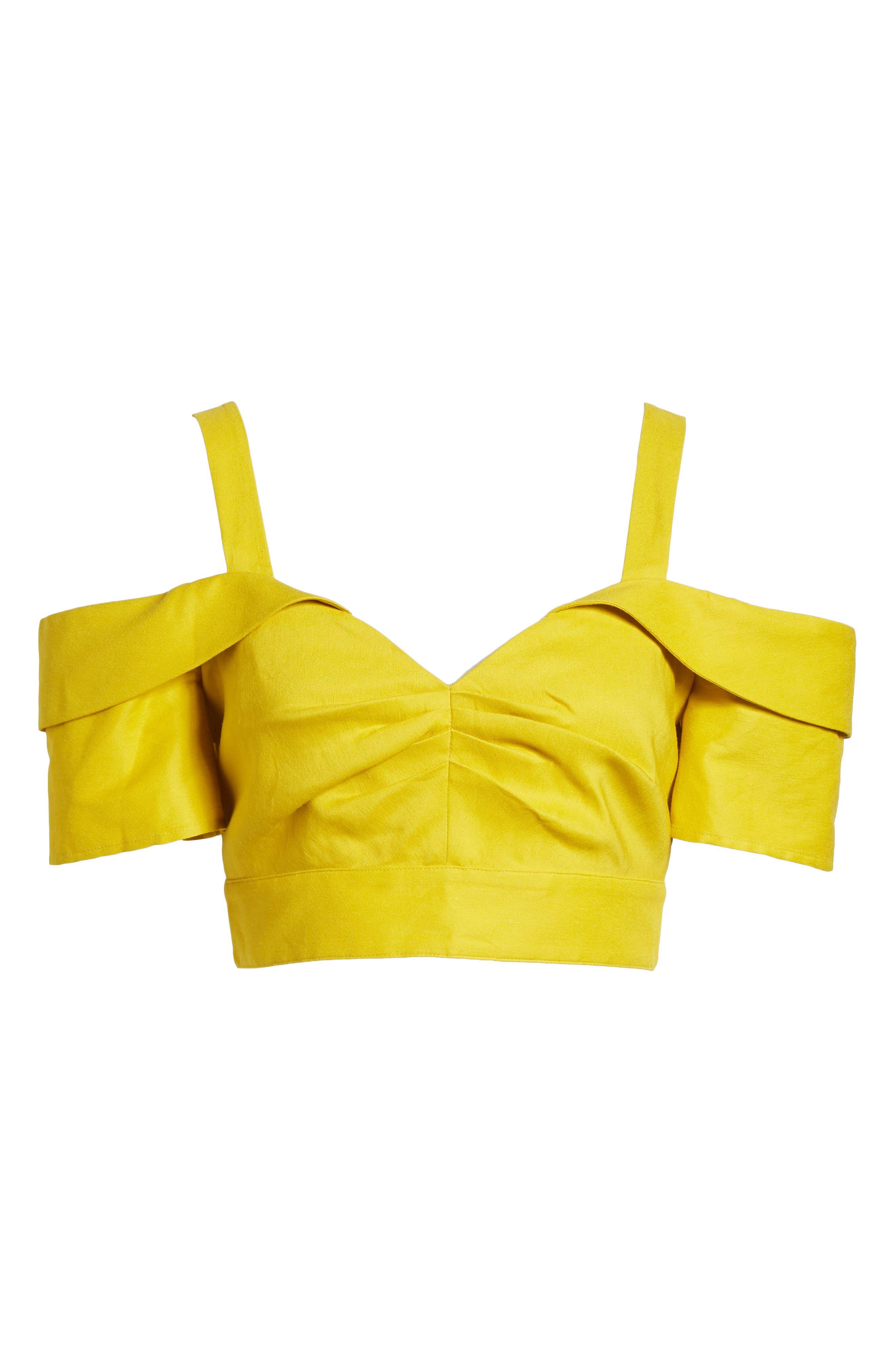 Cold Shoulder Crop Top,                             Alternate thumbnail 6, color,                             Yellow Tea