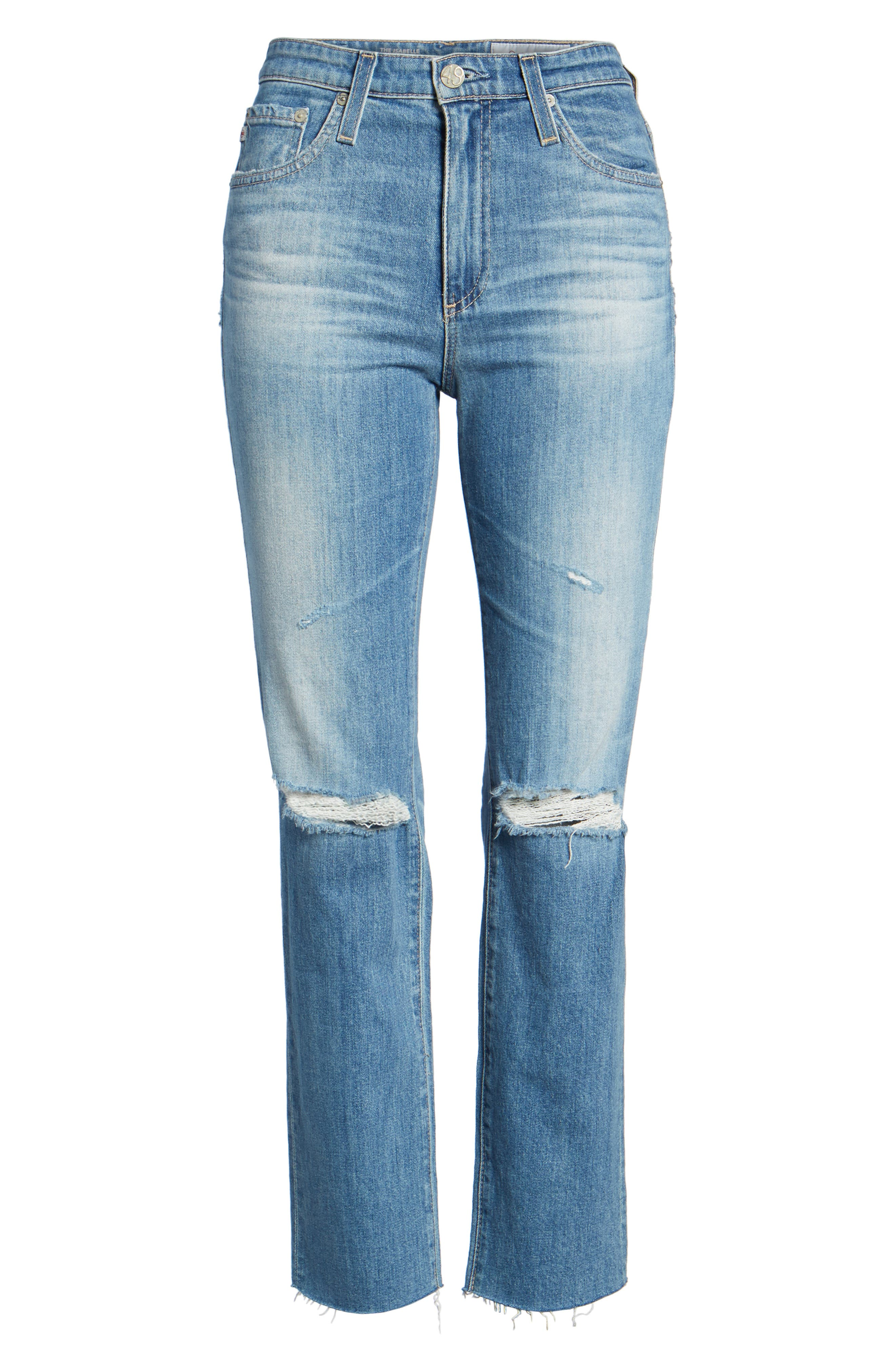 The Isabelle High Waist Crop Straight Leg Jeans,                             Alternate thumbnail 7, color,                             13 Years-Saltwater